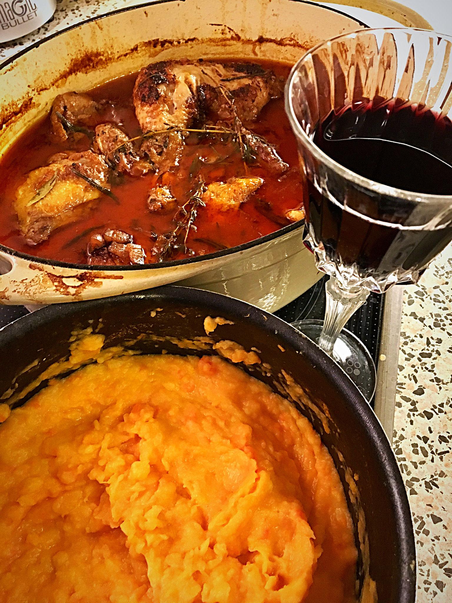 Coque au Vin with Sweet Potato Mash