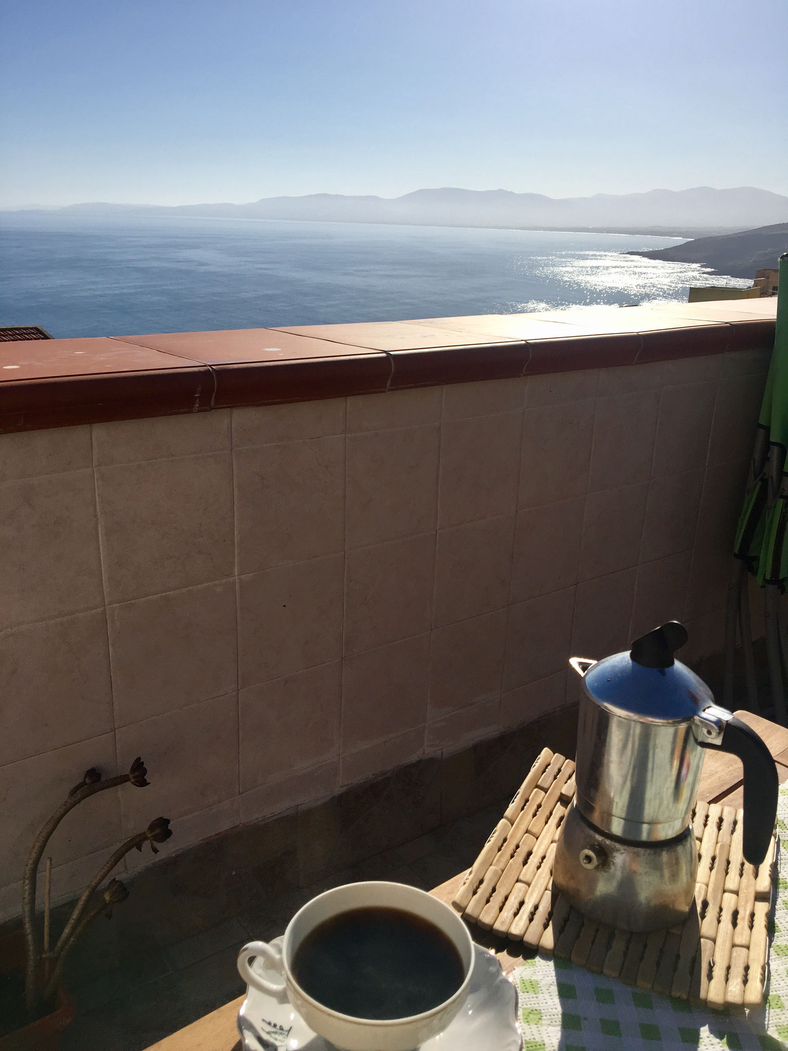 Coffee on the sunny terrace of our B&B