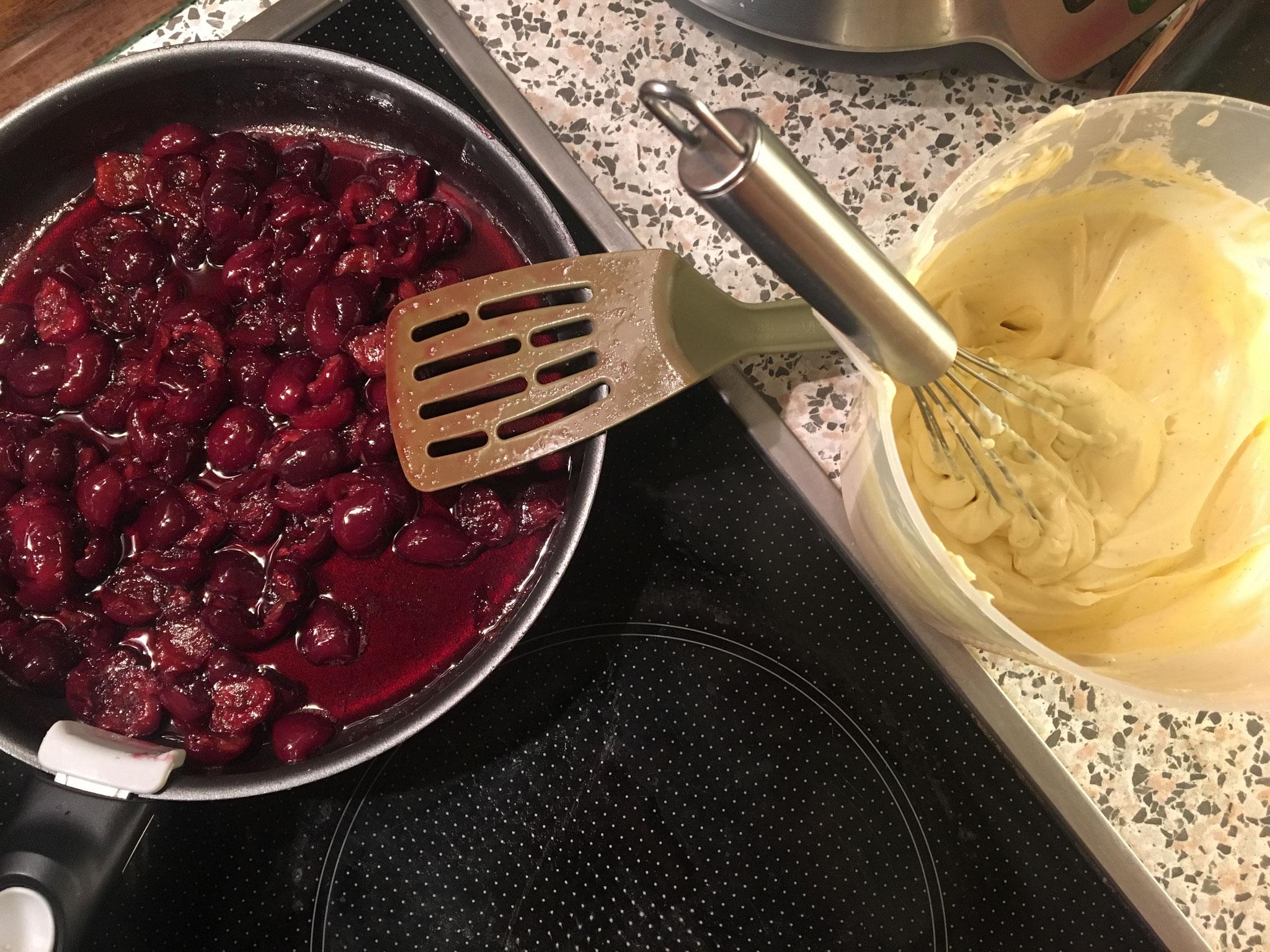 Preparing Cherry Tiramisu from the Gino d´Acampos book Italian Escape