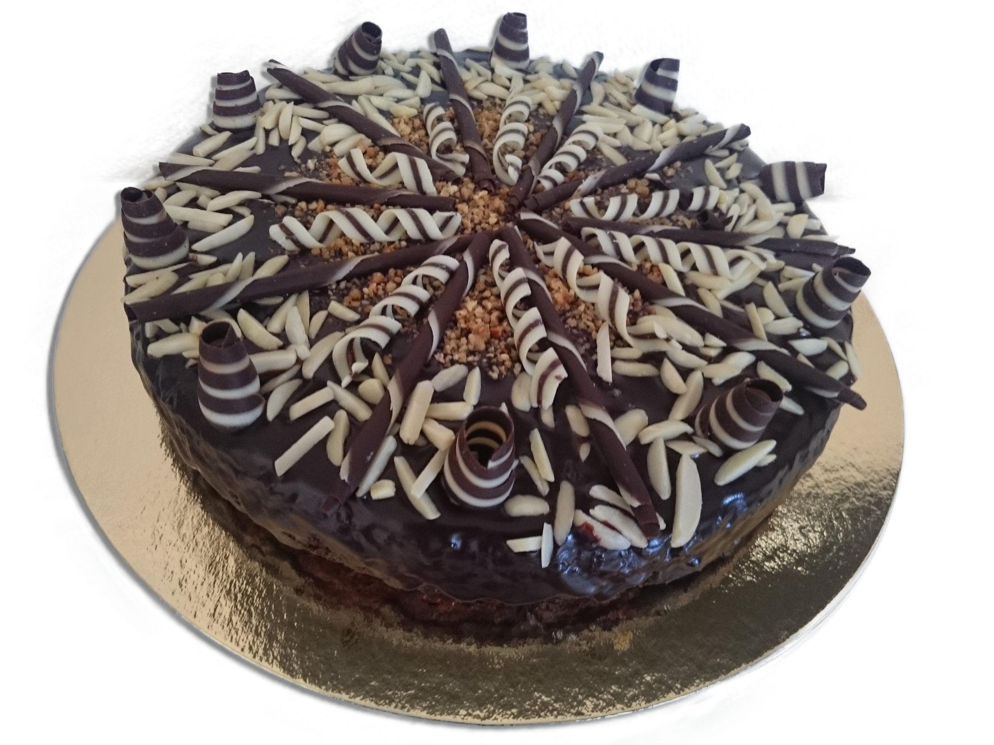 GLUTENFREI. Mandel- Schokoladenkuchen mit Sacherüberzug