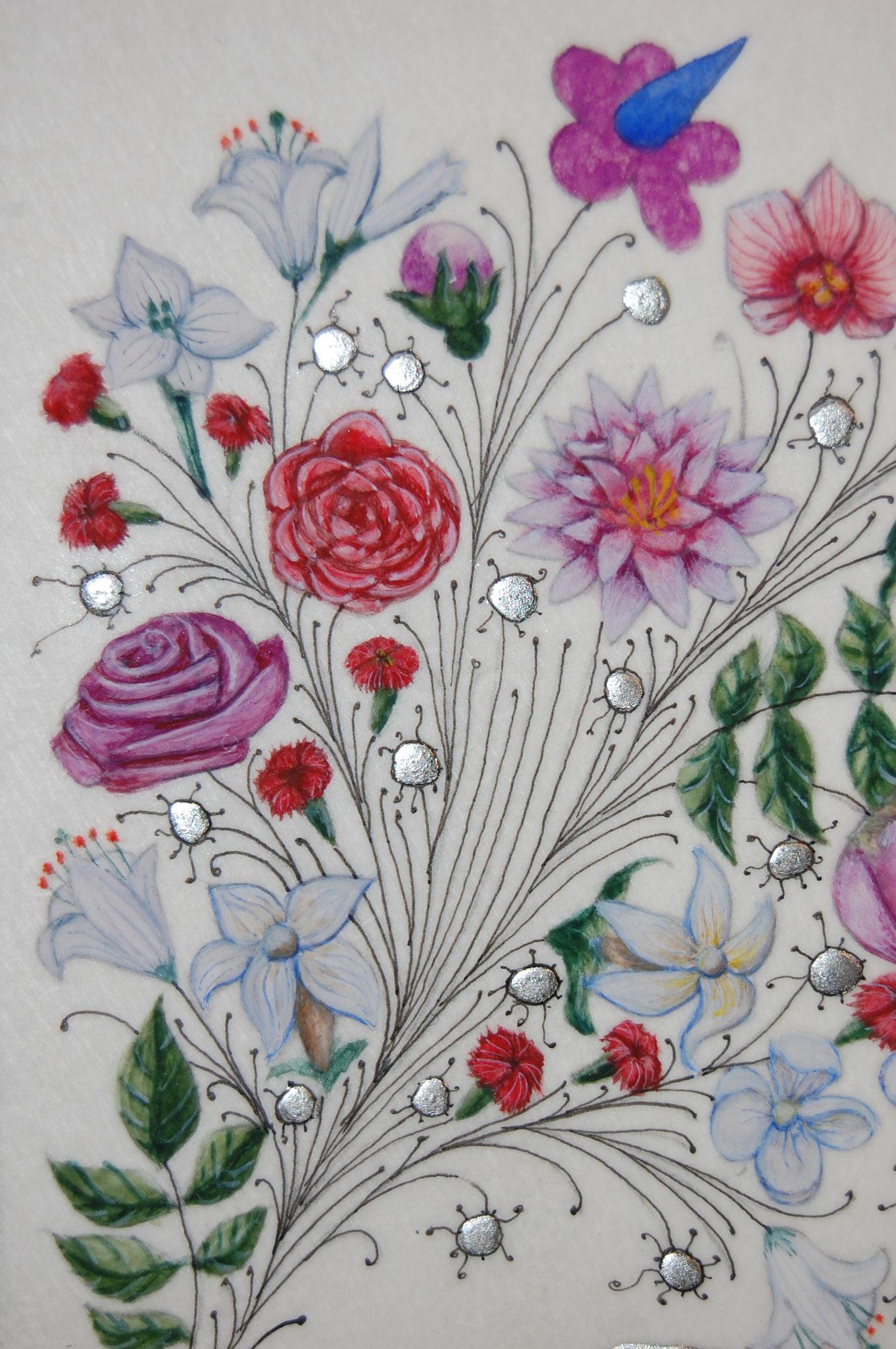 Lettrines Enluminées pour un mariage réalisées par Sandra Clerbois à Lauzerte - détail décor de marge fleurs