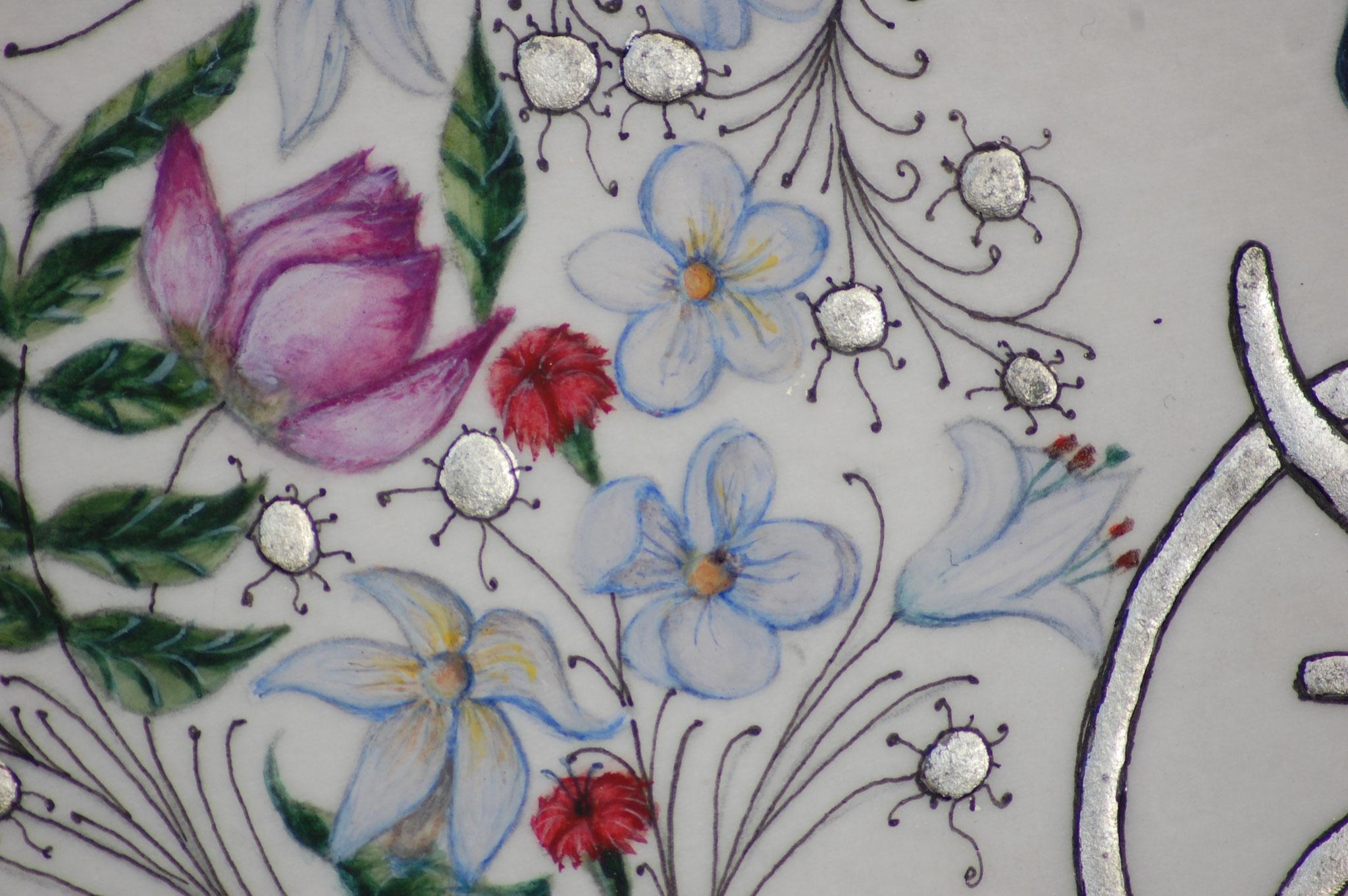 Lettrines Enluminées pour un mariage réalisées par Sandra Clerbois à Lauzerte - Détail jasmin, lotus et lys