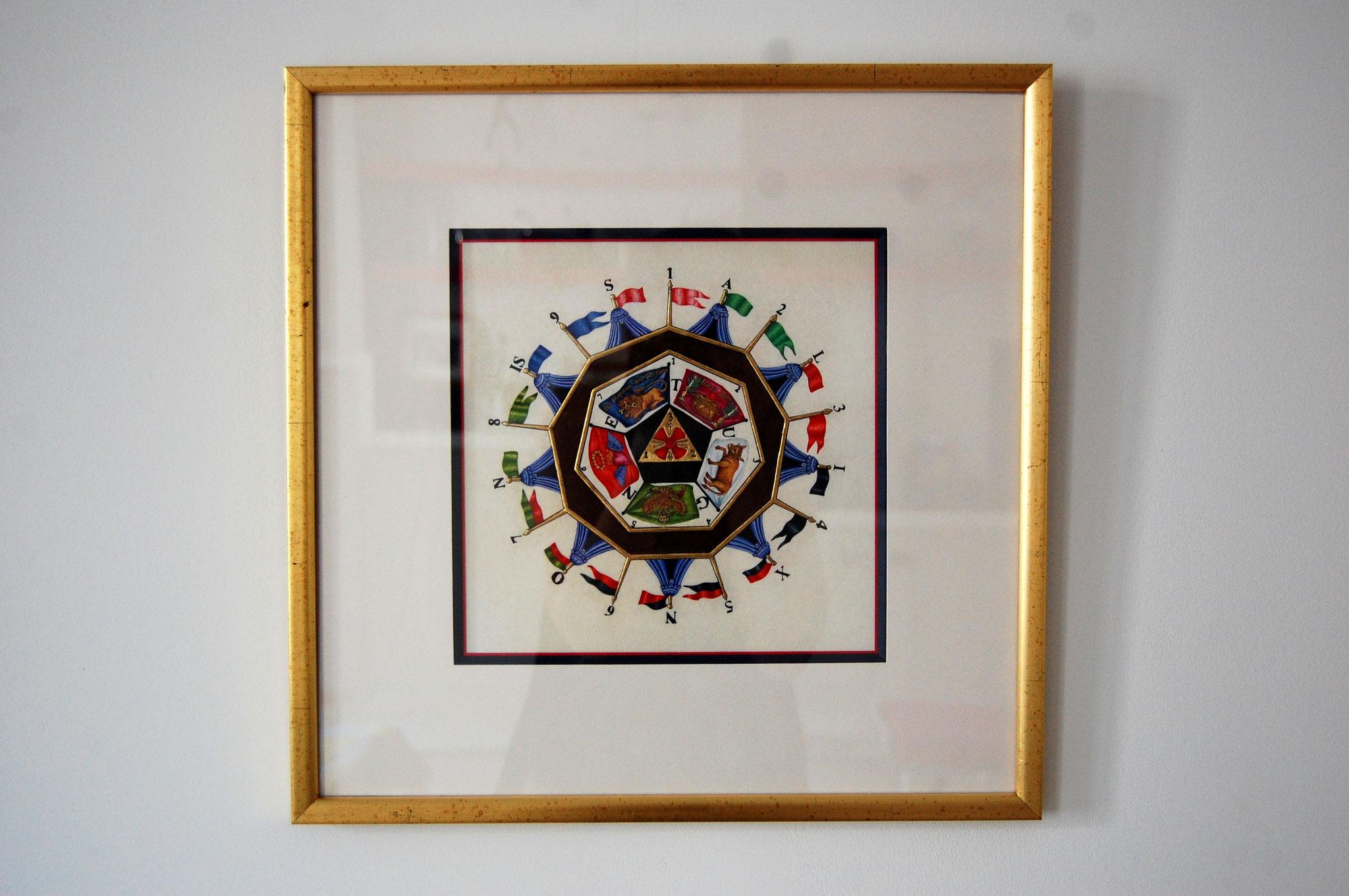Le sceau du Sublime Prince du Royal Secret réalisé en enluminure par Sandra Clerbois dans son cadre.