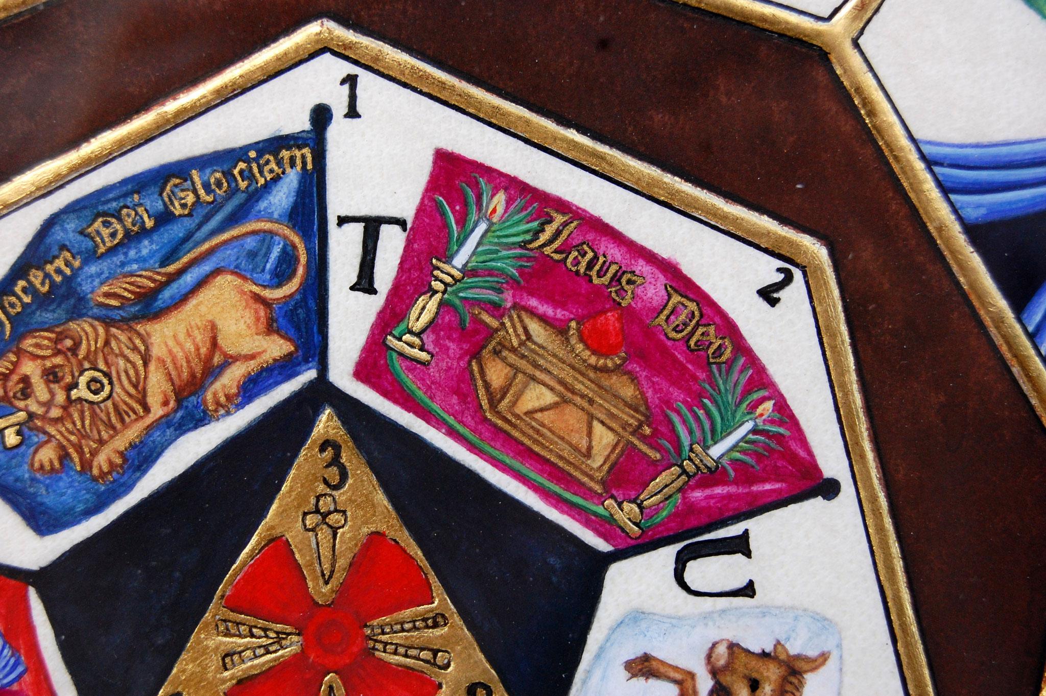 Le sceau du Sublime Prince du Royal Secret réalisé en enluminure par Sandra Clerbois - détail de l'arche d'alliance