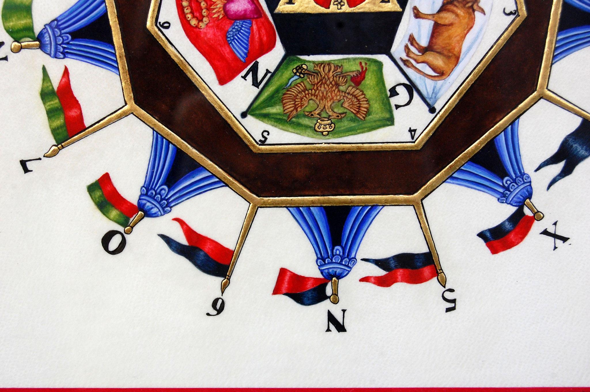 Le sceau du Sublime Prince du Royal Secret réalisé en enluminure par Sandra Clerbois - détail de l'aigle bicéphale