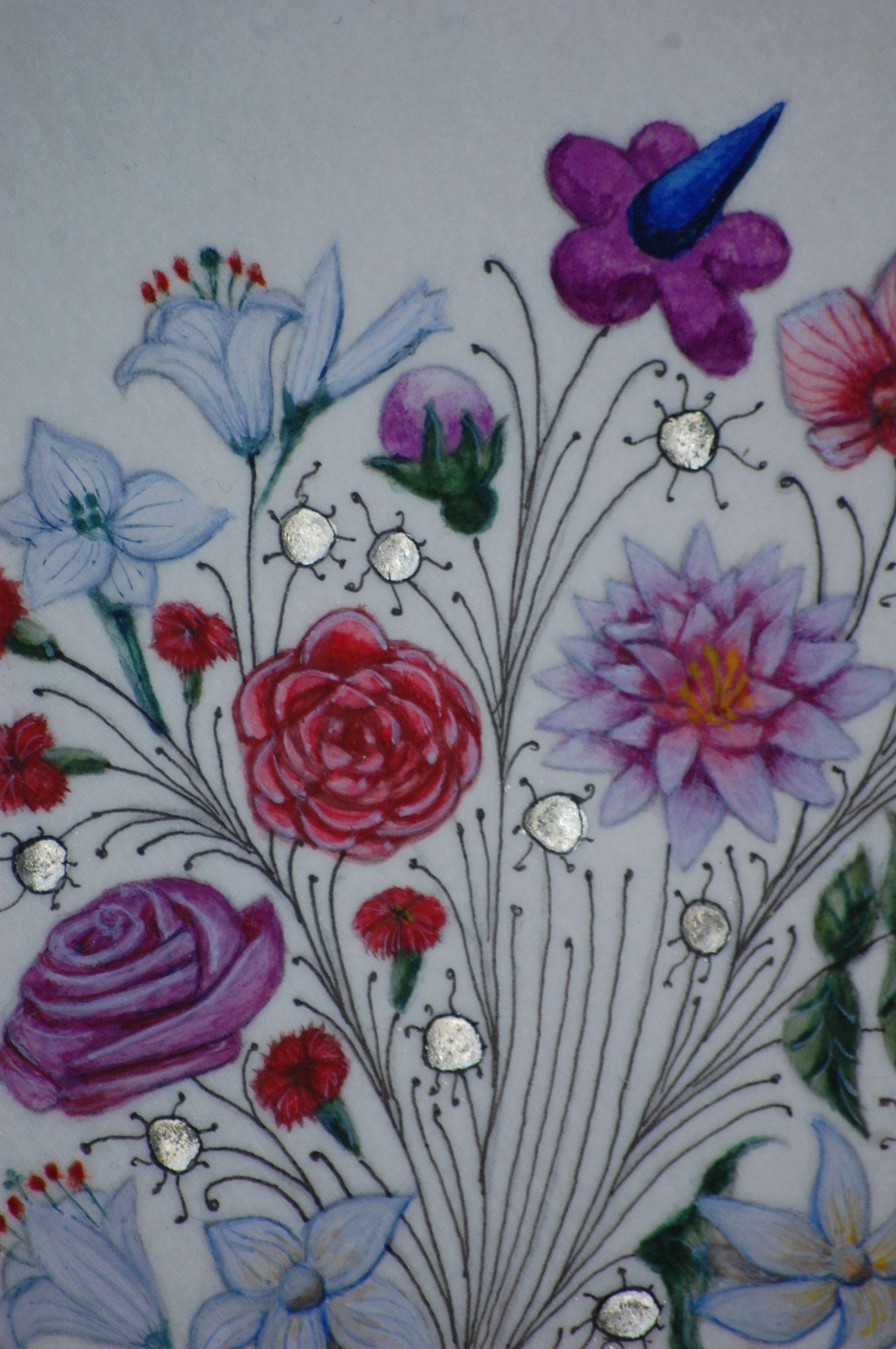 Lettrines Enluminées pour un mariage réalisées par Sandra Clerbois à Lauzerte - détail rose, lys et lotus