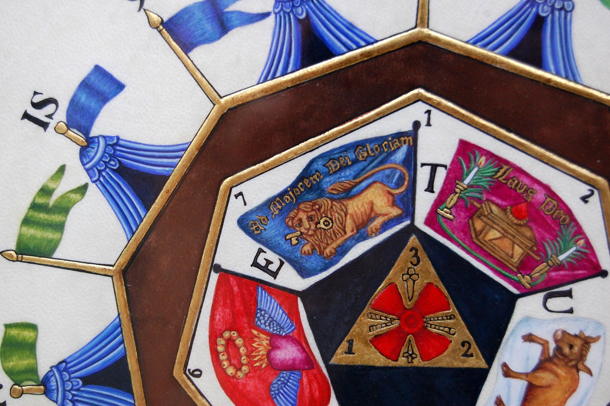 Le sceau du Sublime Prince du Royal Secret réalisé en enluminure par Sandra Clerbois - détail du lion et du cœur ensanglanté