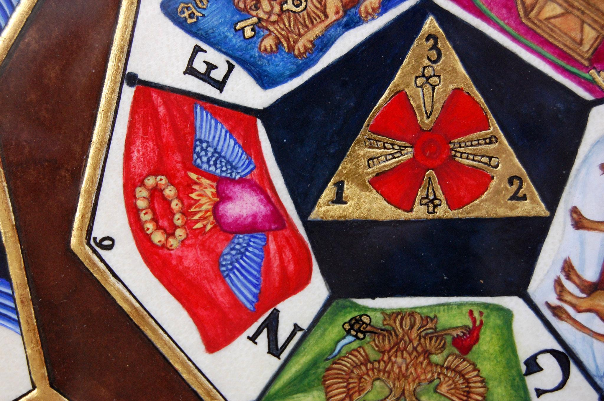 Le sceau du Sublime Prince du Royal Secret réalisé en enluminure par Sandra Clerbois - détail du coeur ensanglanté