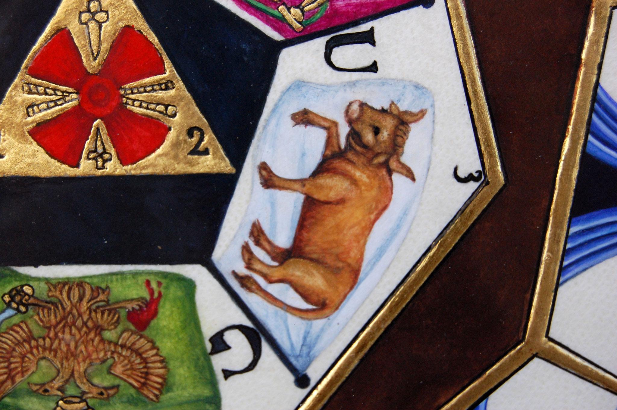 Le sceau du Sublime Prince du Royal Secret réalisé en enluminure par Sandra Clerbois - détail du taureau