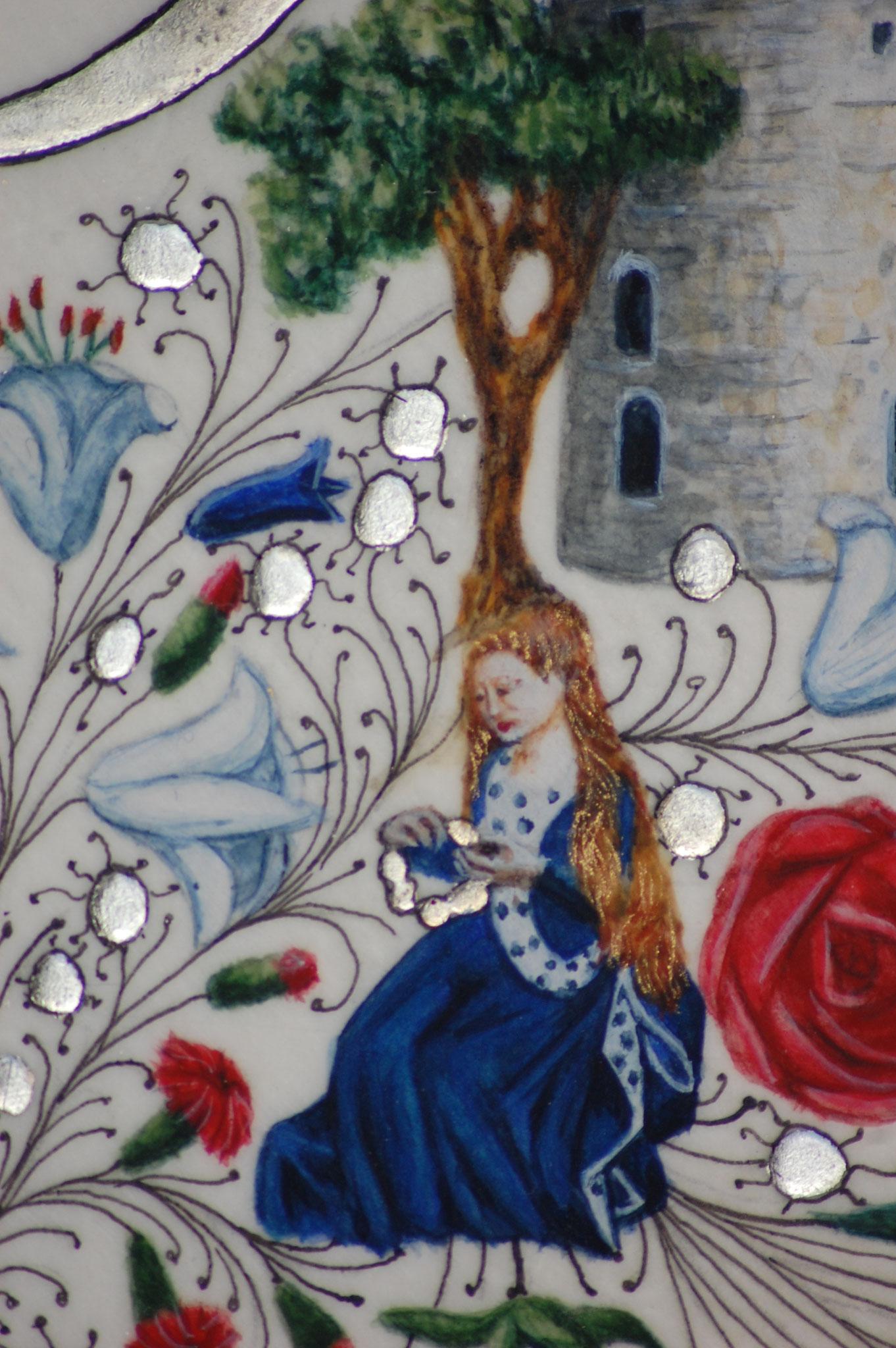 Lettrines Enluminées pour un mariage réalisées par Sandra Clerbois à Lauzerte - Détail princesse et rose