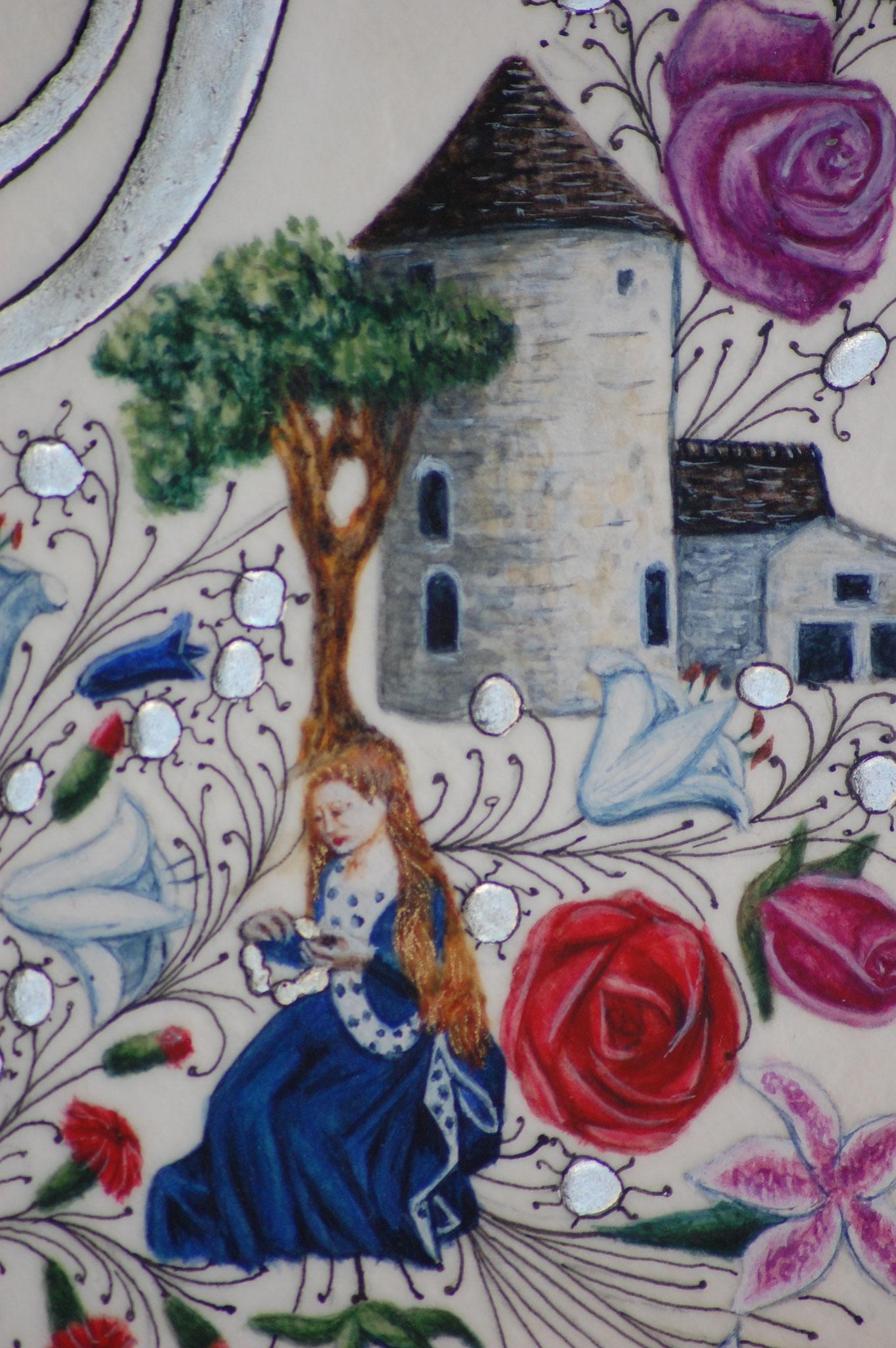 Lettrines Enluminées pour un mariage réalisées par Sandra Clerbois à Lauzerte - détail moulin