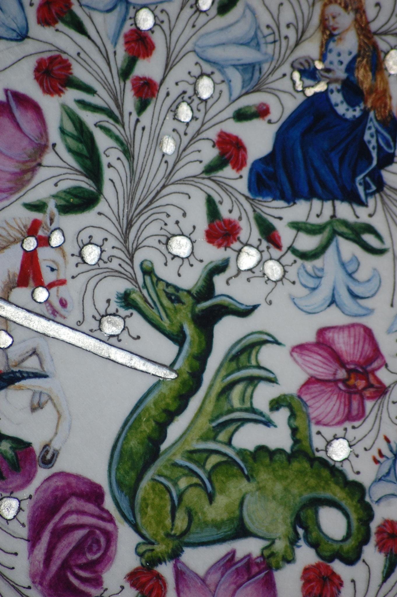 Lettrines Enluminées pour un mariage réalisées par Sandra Clerbois à Lauzerte - Détail dragon