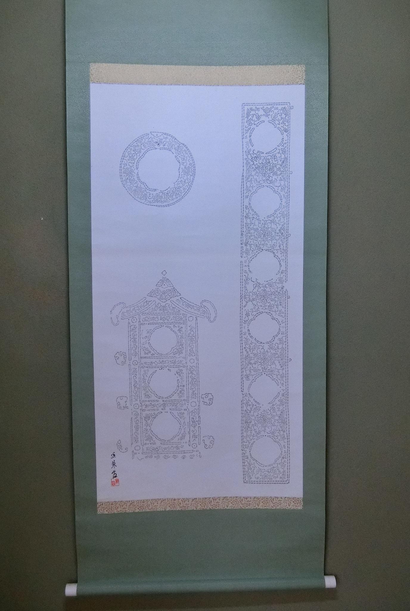 祇園祭に因み鉾の絵(みこし、御輿、1万9千字にて製作)