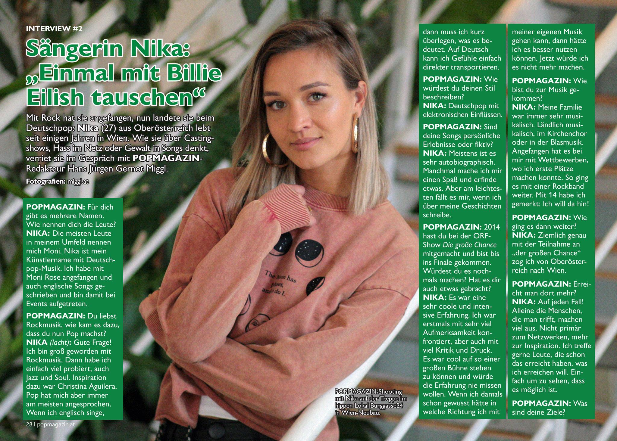 POPMAGAZIN-INTERVIEW mit Sängerin Nika: Einmal mit Billie Eilish tauschen! (c) miggl.at