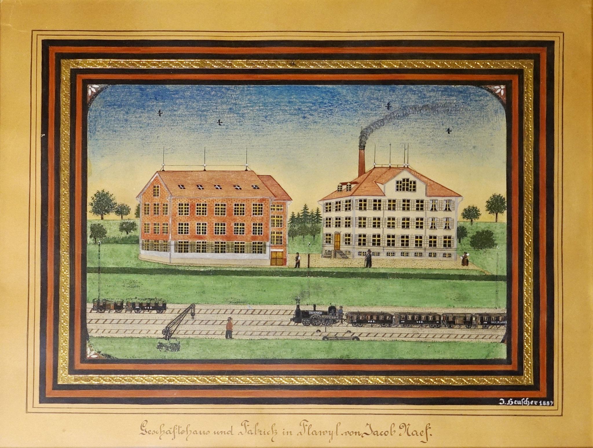 Darstellung der Stickerei A. Naef an der Säntisstrasse vom bekannten Bauernmaler und Entwerfer J.J. Heuscher, 1887