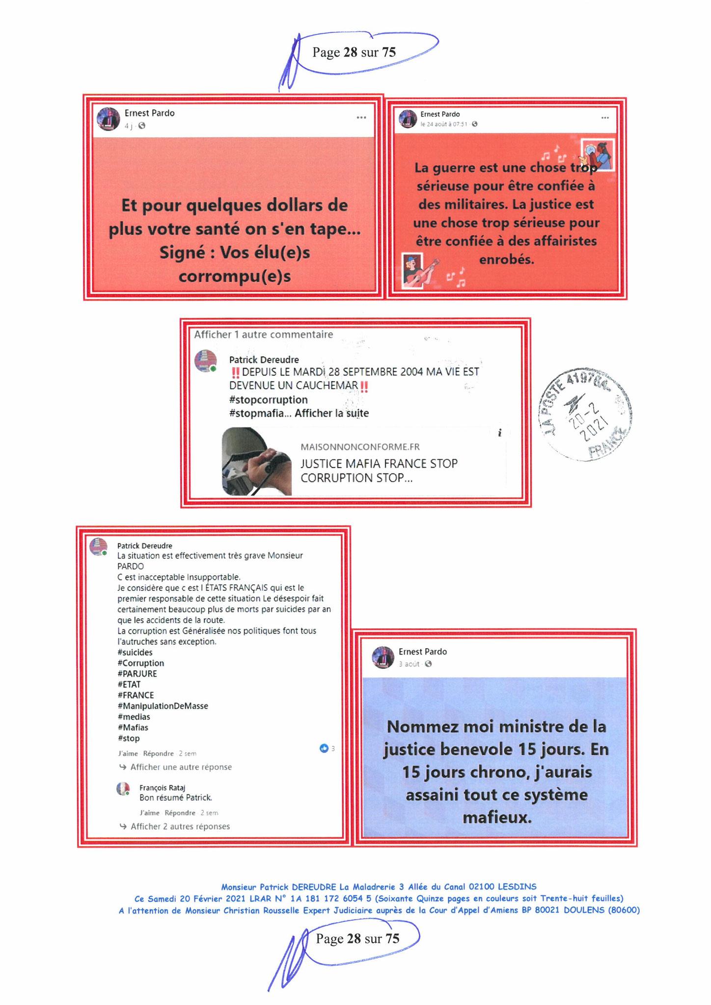 Page 28 Ma  Lettre Recommandée à Monsieur Christian ROUSSELLE Expert Judiciaire auprès de la Cour d'Appel d'Amiens Affaire MES CHERS VOISINS nos  www.jenesuispasunchien.fr www.jesuisvictime.fr www.jesuispatrick.fr PARJURE & CORRUPTION JUSTICE REPUBLIQUE