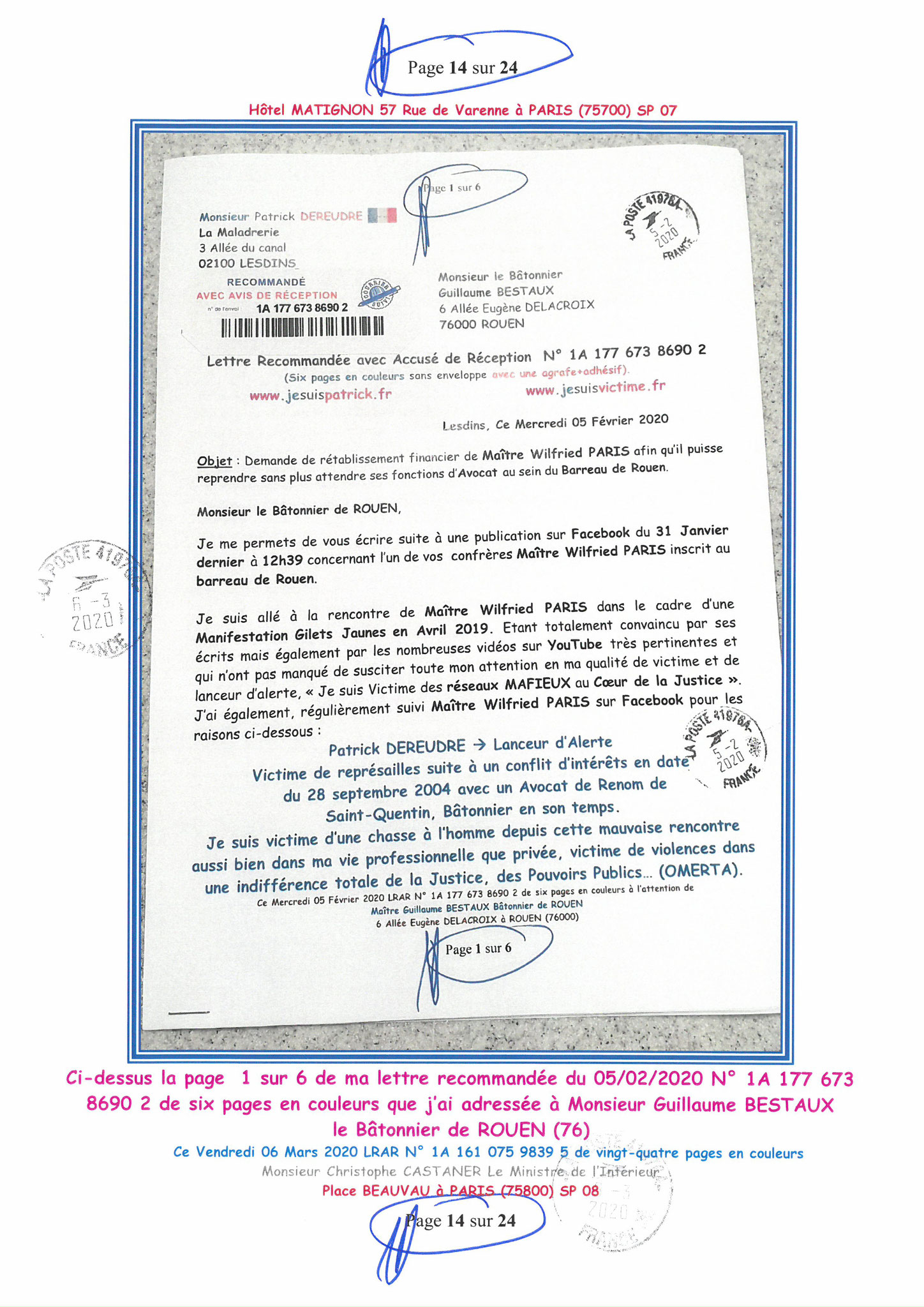 Ma LRAR à Monsieur le Ministre de l'Intérieur Christophe CASTANER N°1A 161 075 9839 5  Page 14 sur 24 en couleur du 06 Mars 2020  www.jesuispatrick.fr www.jesuisvictime.fr www.alerte-rouge-france.fr