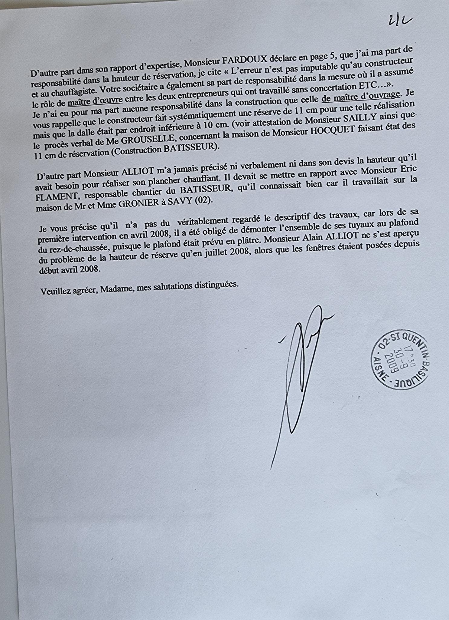 Le 30 Septembre 2009 j'adresse une LRAR à la MACIF.  Concernant les installation Ste Alain ALLIOT.     INACCEPTABL BORDERLINE  EXPERTISES JUDICIAIRES ENTRE COPAINS... www.jesuispatrick.fr