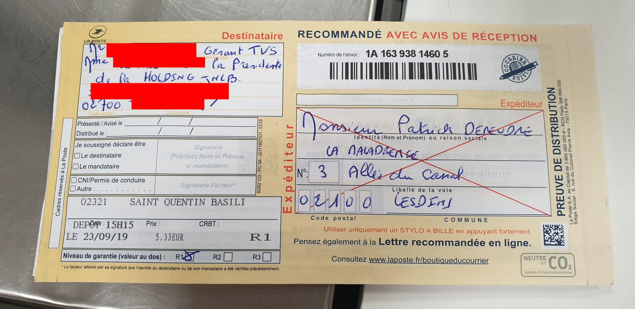 Ma troisième lettre recommandée du 23 Septembre 2019 au TAXIS VASSEUR SERVICES & HOLDING JNLB// VIOLENCES & SOUFFRANCES AU TRAVAIL (MOBBING & GANG STAKLING) www.jenesuispasunchien.fr www.jesuisvictime.fr www.jesuispatrick.fr
