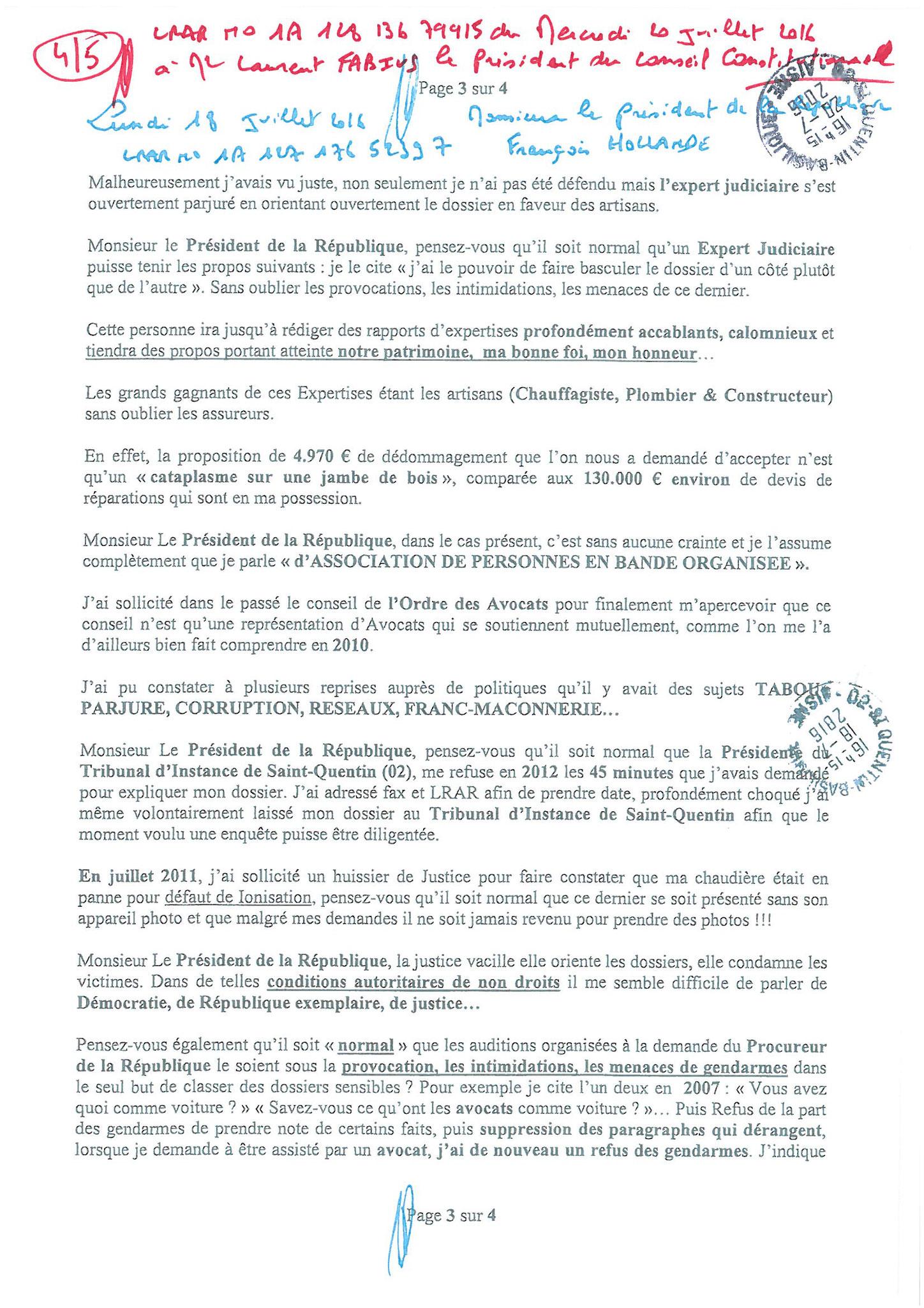 LRAR du 20 Juillet 2016 à Monsieur Laurent FABIUS le Président du Conseil Constitutionnel page 4 à 5 www.maisonnonconforme.fr