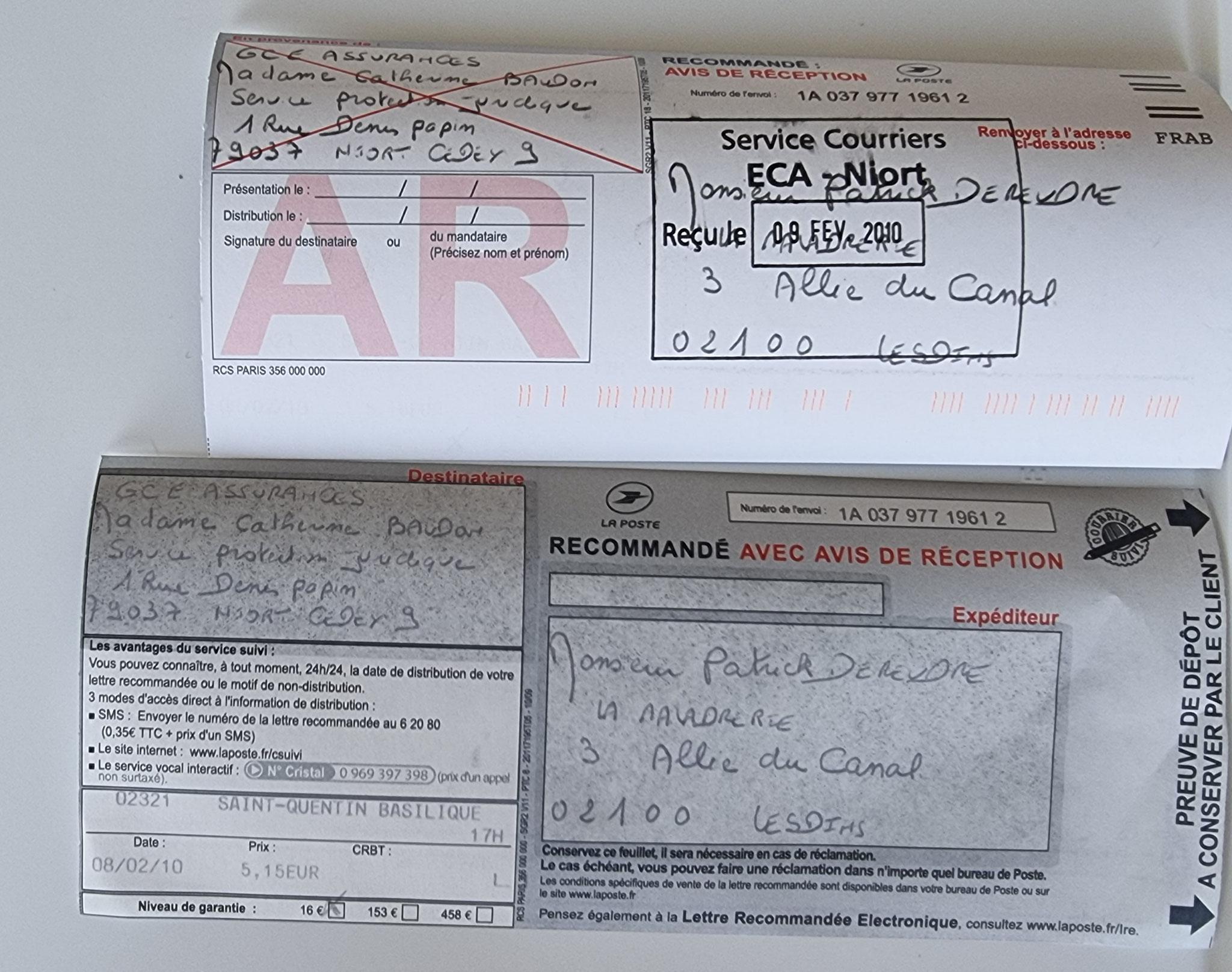 Le 08 Février 2010 j'adresse une LRAR à ma Protection Juridique de la CAISSE D'EPARGNE.  BORDERLINE   EXPERTISES JUDICIAIRES ENTRE COPAINS...  www.jesuisvictime.fr www.jesuispatrick.fr