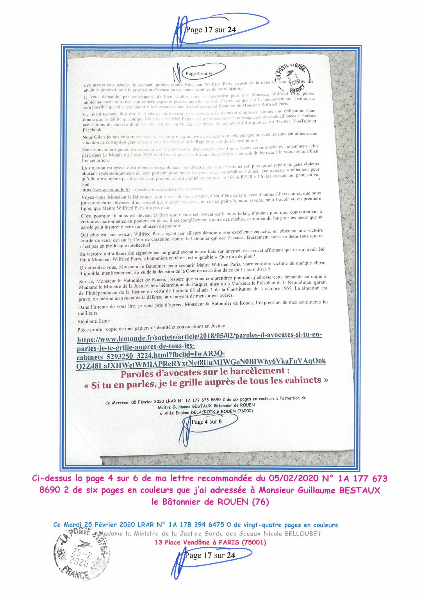 Ma LRAR à Madame Nicole BELLOUBET la Ministre de la Justice N0 1A 178 394 6475 0 Page 17 sur 24 en couleur  www.jesuispatrick.com www.jesuisvictime.fr www.alerte-rouge-france.fr