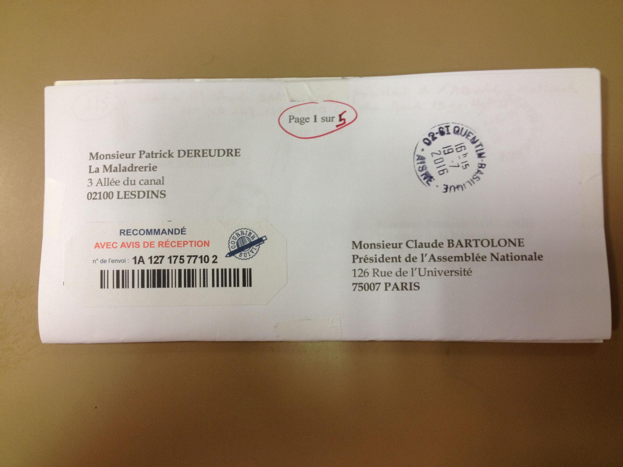 LRAR du 19 Juillet 2016 Recto à Monsieur Claude BARTOLONE le Président de l'Assemblée Nationale