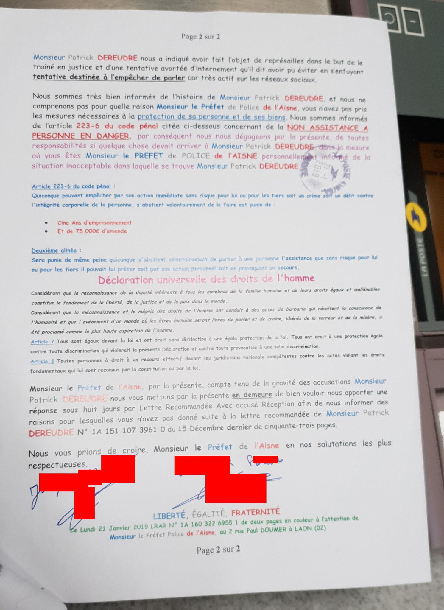 La lettre recommandée adressée par mon comité de Soutien  au Préfet de l'Aisne Monsieur Nicolas BASSELIER du 15 Décembre 2015 N0 1A 160 322 6955 1de Deux pages en couleurs.