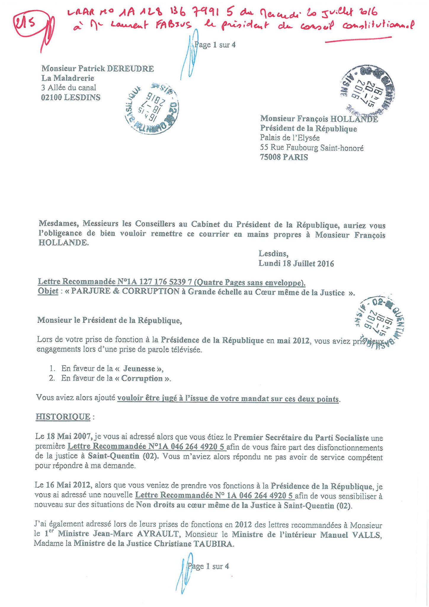 LRAR du 20 Juillet 2016 à Monsieur Laurent FABIUS le Président du Conseil Constitutionnel page 2 à 5 www.maisonnonconforme.fr