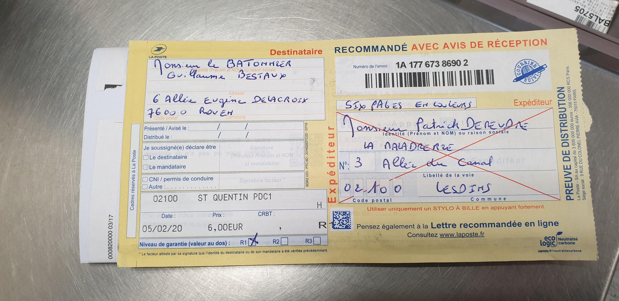 Accusé de Réception & Preuve de Dépôt Ma lettre recommandée du 05 Février 2020 N° 1A 177 673 8690 2 Page 6 sur 6 en couleurs www.jesuispatrick.fr