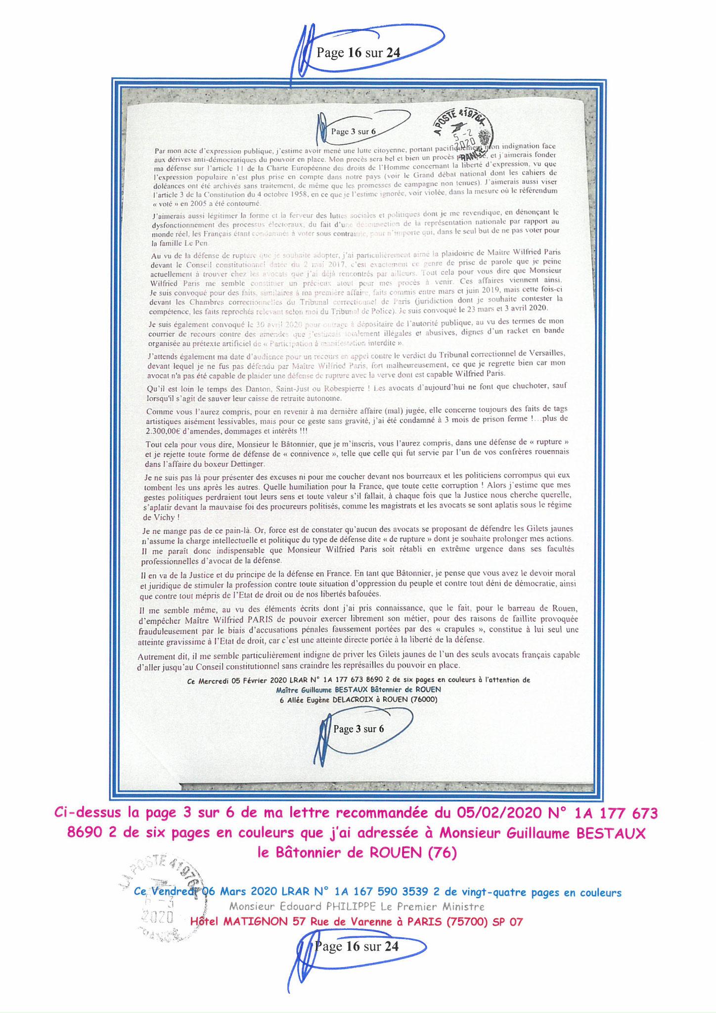 Ma LRAR à Monsieur le  Premier Ministre Edouard PHILIPPE N° 1A 167 590 3539 2 Page 16 sur 24 en Couleur du 06 Mars 2020  www.jesuispatrick.fr