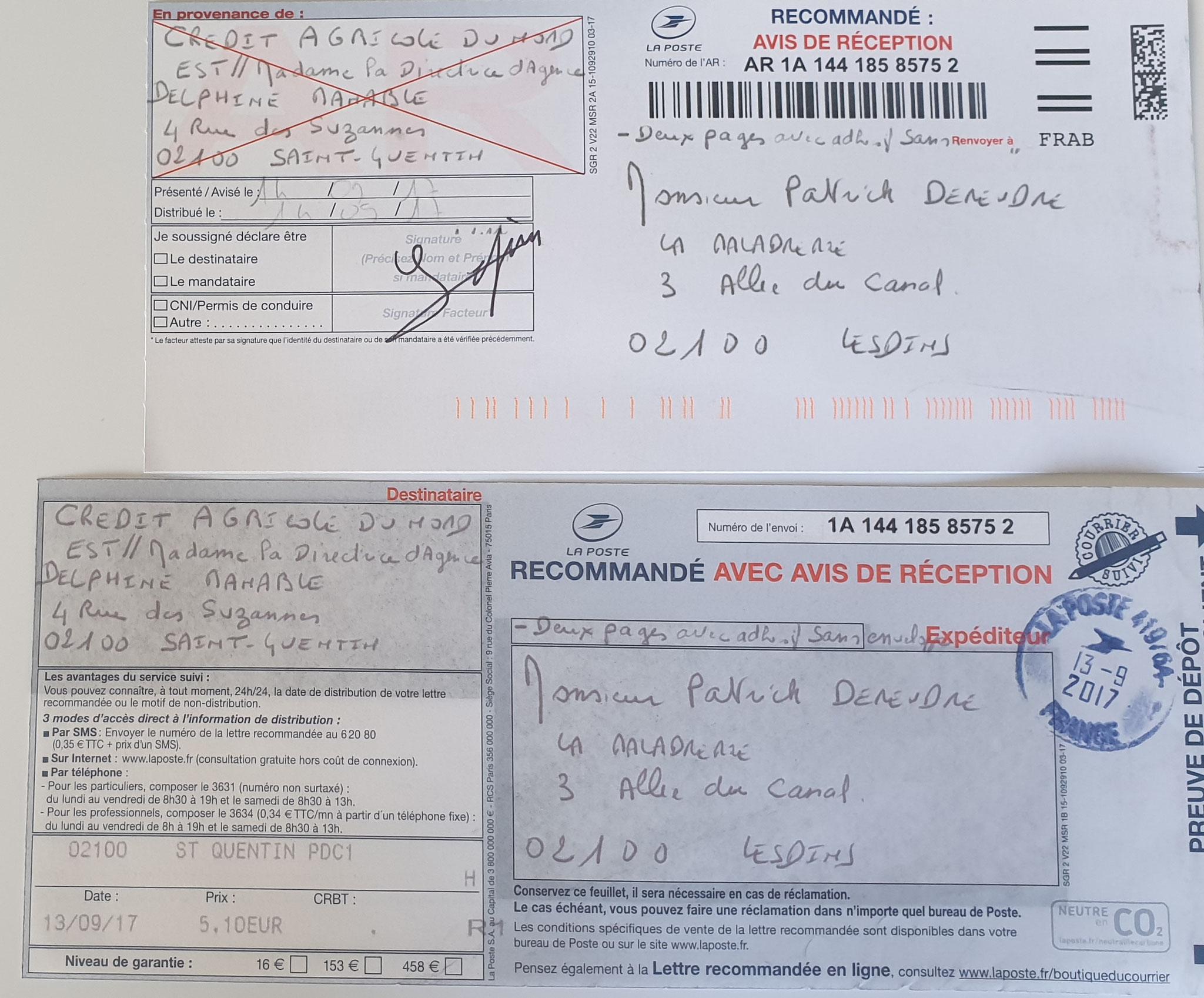 Ma quatrième lettre recommandée du 13 septembre 2017 N0 1A 144 185 8575 2 soit deux pages. www.jesuispatrick.fr