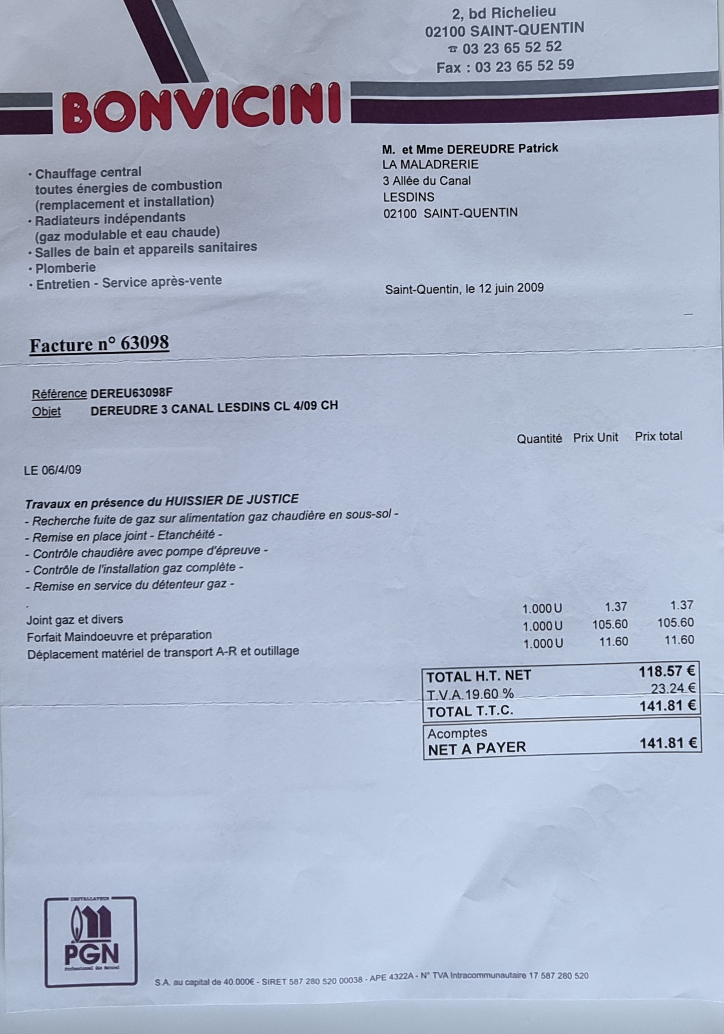 Le 12 Juin 2009, je reçois la facture de réparation mais rien n'est précisé.    LA LOI DU SILENCE ENTRE CONFRERES www.jesuispatrick.fr www.jesuisvictime.fr