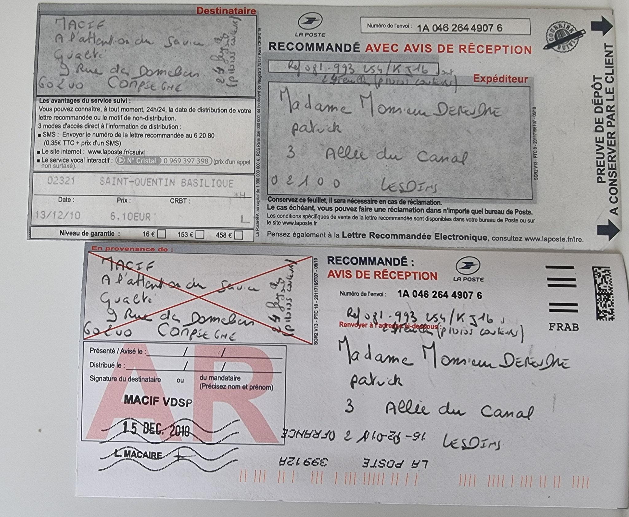 Le 13 Décembre 2010 j'adresse une LRAR à ma Compagnie d'Assurances LA MACIF soit vingt-quatre page. Pour l'instant je ne fais figurer que la page N°1 sur 24    INACCEPTABLE  BORDERLINE    EXPERTISES JUDICIAIRES ENTRE COPAINS...  www.jenesuispasunchien.fr