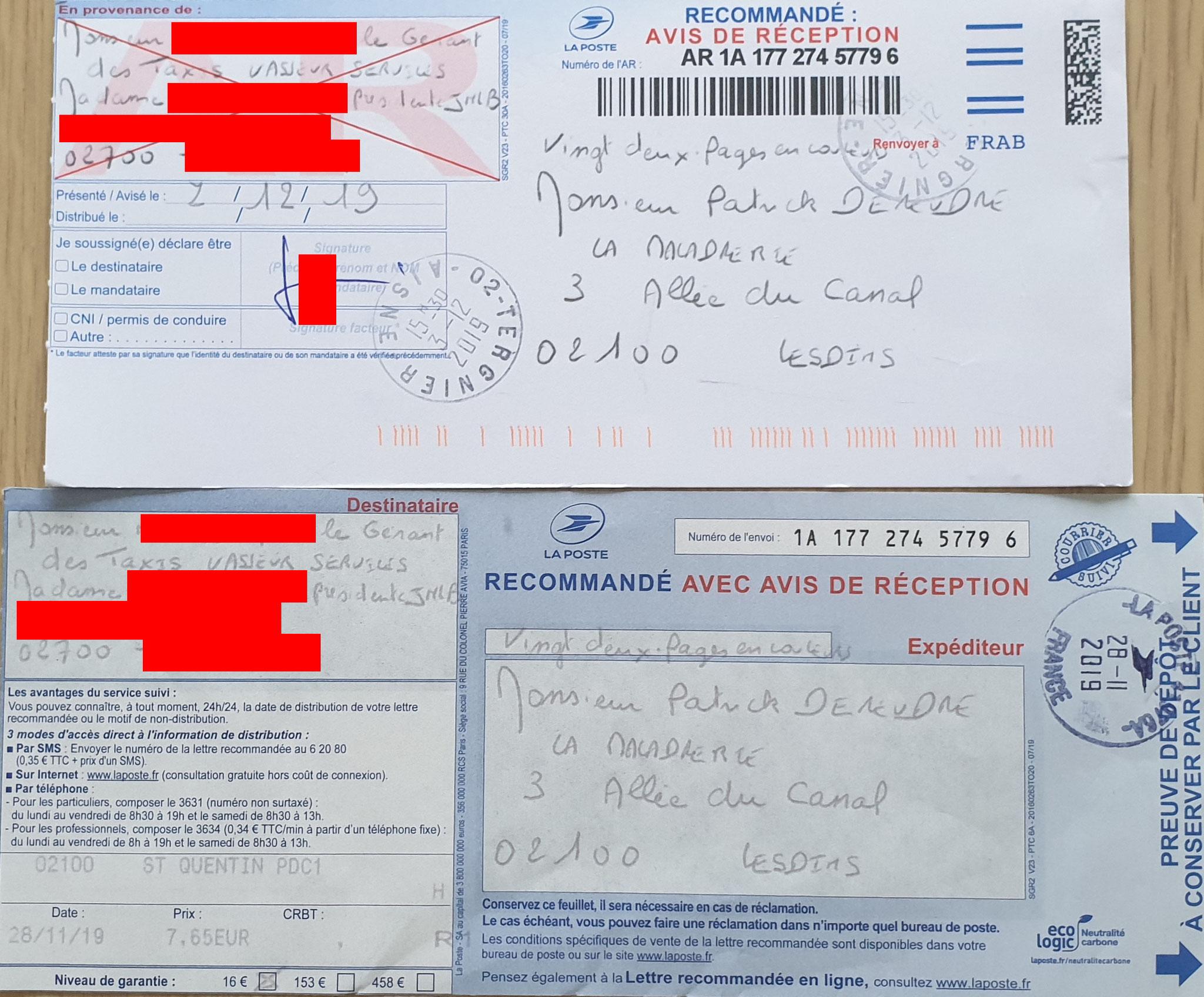 Ma quatrième lettre recommandée du 28 Novembre 2019 au TAXIS VASSEUR SERVICES & HOLDING JNLB// VIOLENCES & SOUFFRANCES AU TRAVAIL (MOBBING & GANG STAKLING) www.jenesuispasunchien.fr www.jesuisvictime.fr www.jesuispatrick.fr