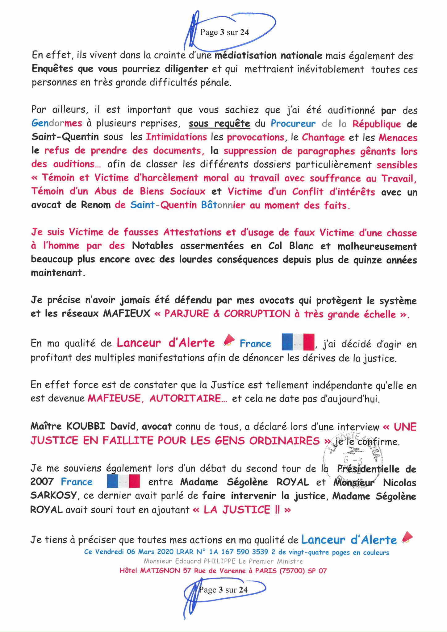 Ma LRAR à Monsieur le  Premier Ministre Edouard PHILIPPE N° 1A 167 590 3539 2 Page 3 sur 24 en Couleur du 06 Mars 2020  www.jesuispatrick.fr www.jesuisvictime.fr www.alerte-rouge-france.fr