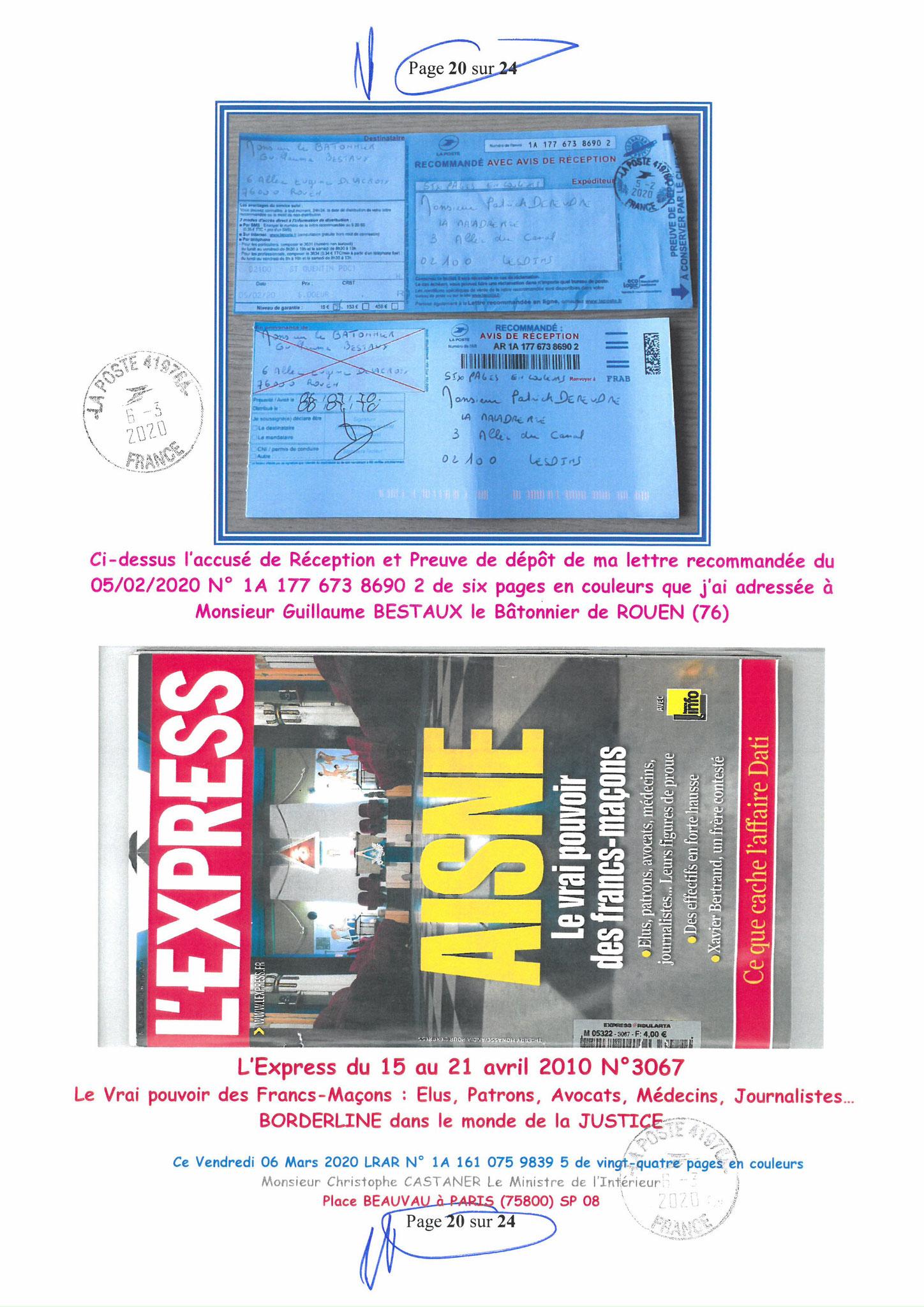 Ma LRAR à Monsieur le Ministre de l'Intérieur Christophe CASTANER N°1A 161 075 9839 5  Page 20 sur 24 en couleur du 06 Mars 2020  www.jesuispatrick.fr