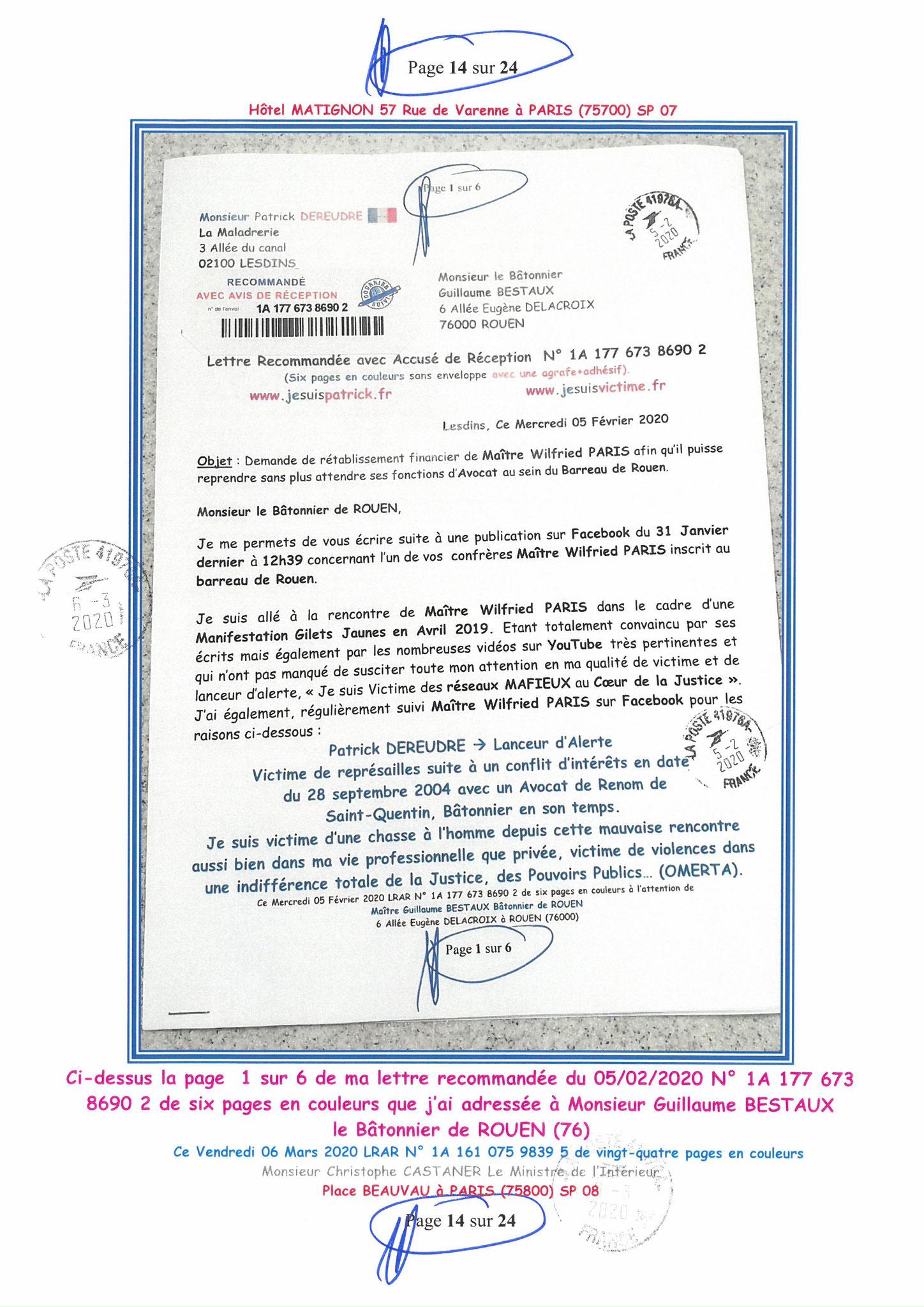 Ma LRAR à Monsieur le Ministre de l'Intérieur Christophe CASTANER N°1A 161 075 9839 5  Page 14 sur 24 en couleur du 06 Mars 2020  www.jesuispatrick.fr