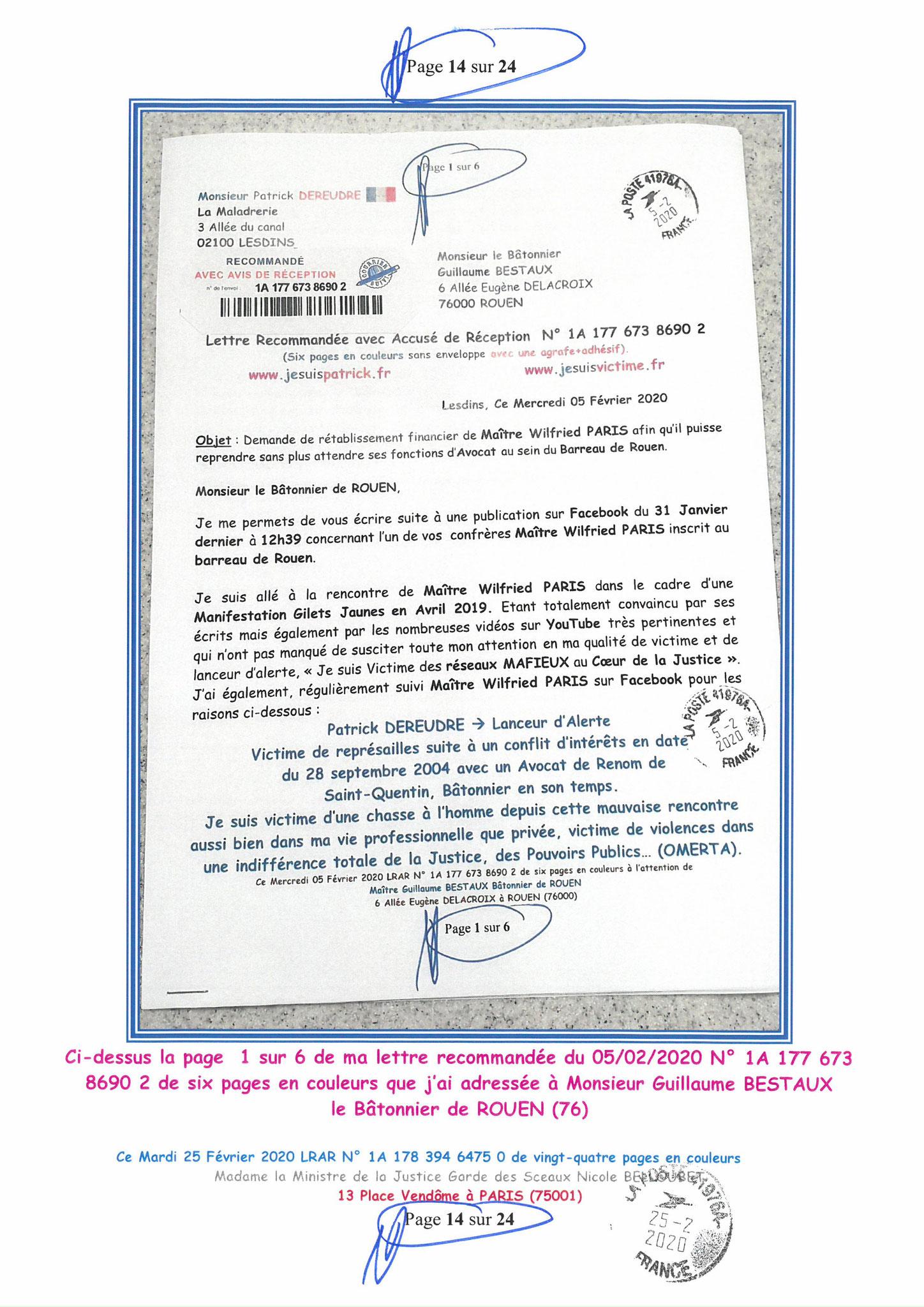 Ma LRAR à Madame Nicole BELLOUBET la Ministre de la Justice N0 1A 178 394 6475 0 Page 14 sur 24 en couleur  www.jesuispatrick.com