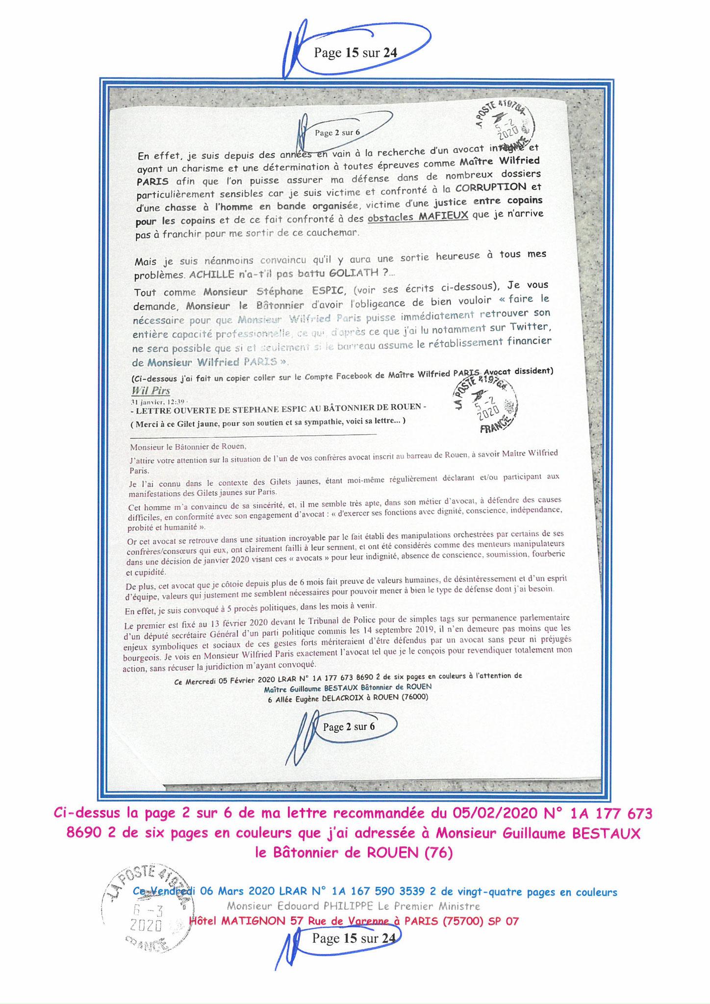 Ma LRAR à Monsieur le  Premier Ministre Edouard PHILIPPE N° 1A 167 590 3539 2 Page 15 sur 24 en Couleur du 06 Mars 2020  www.jesuispatrick.fr www.jesuisvictime.fr www.alerte-rouge-france.fr