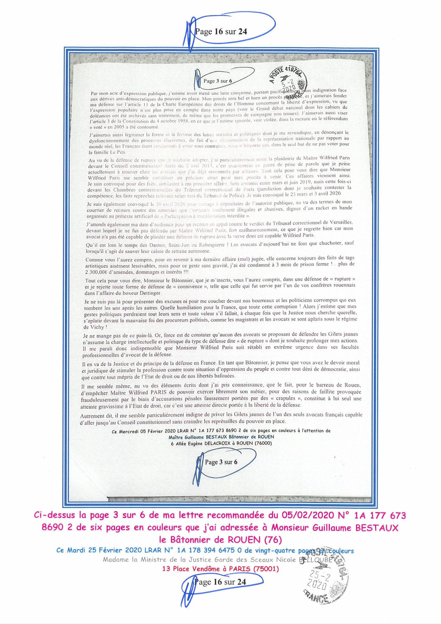 Ma LRAR à Madame Nicole BELLOUBET la Ministre de la Justice N0 1A 178 394 6475 0 Page 16 sur 24 en couleur  www.jesuispatrick.com