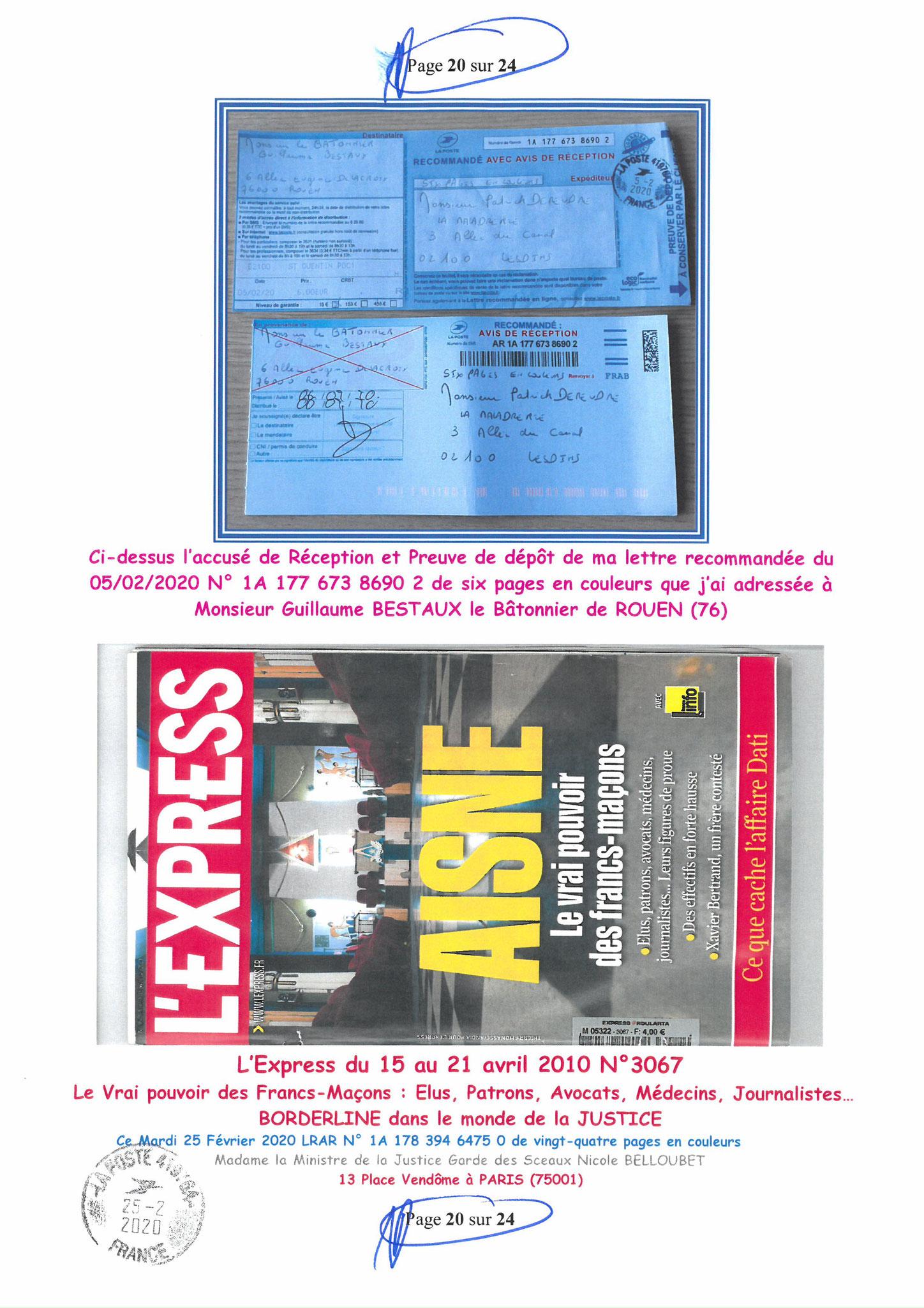 Ma LRAR à Madame Nicole BELLOUBET la Ministre de la Justice N0 1A 178 394 6475 0 Page 20 sur 24 en couleur  www.jesuispatrick.com www.jesuisvictime.fr www.alerte-rouge-france.fr