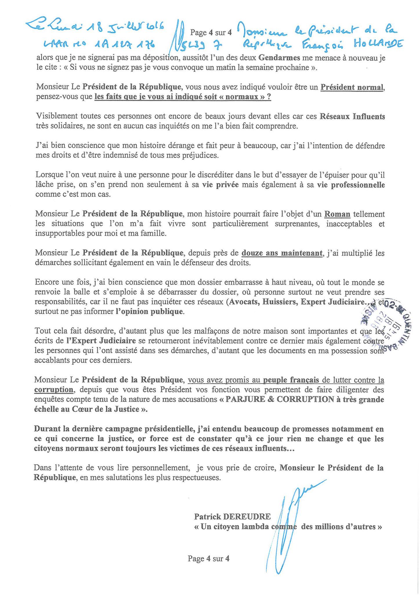 LRAR  du 18 Juillet 2016 à Monsieur François HOLLANDE Président de la République page 4 sur 4