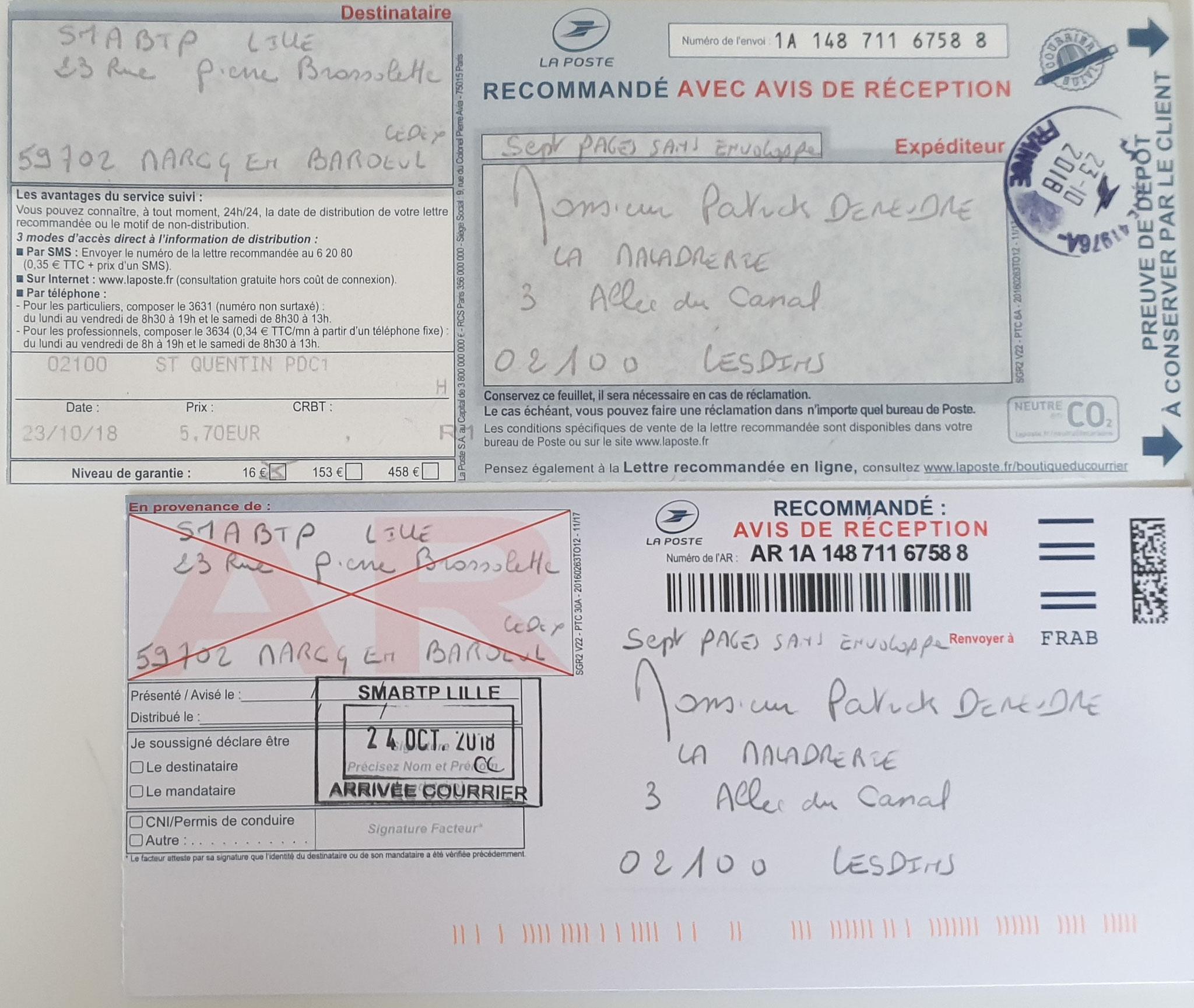 Le 23 Octobre 2018 j'adresse à SMABT une troisième  LRAR N0 1A 148 711 6758 8 de (sept pages) www.jenesuispasunchien.fr www.jesuisvictime.fr www.jesuispatrick.fr PARJURE & CORRUPTION