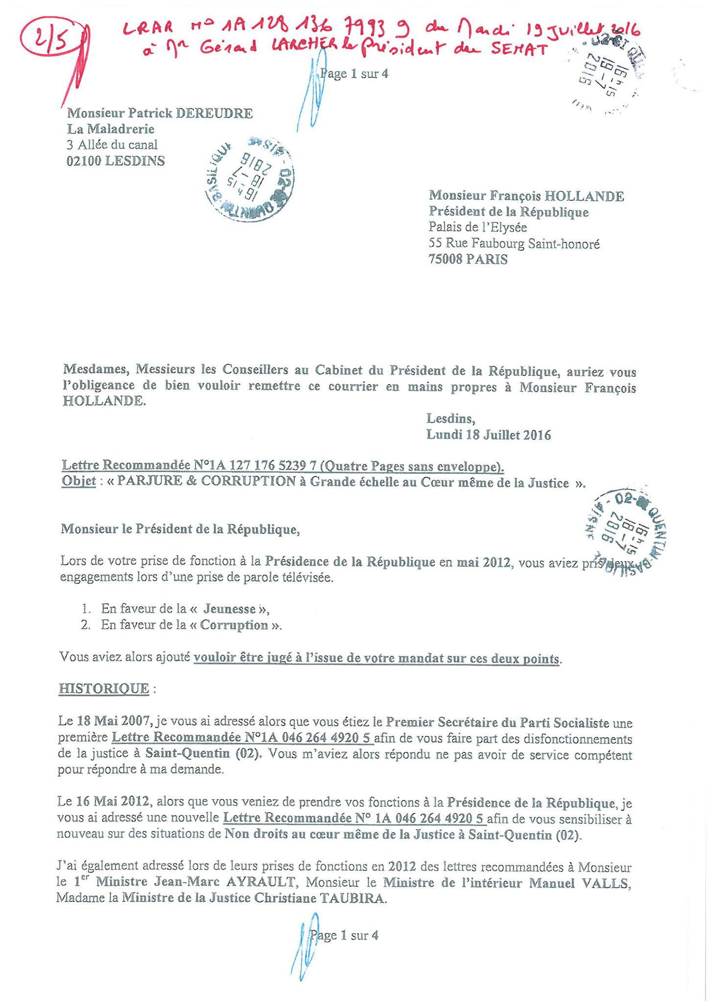 LRAR du 19 Juillet 2016 à Monsieur Gérard LARCHER le Président du Sénat page 2 sur 5
