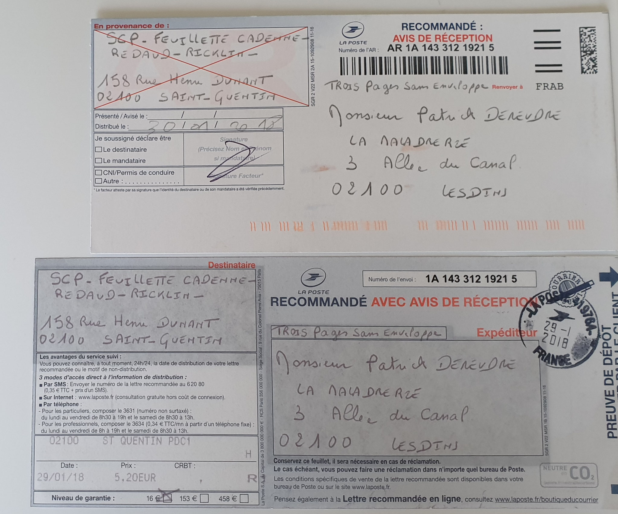 Le 29 Janvier 2018 LRAR N0 1A  143 312 1921 5 (trois pages) www.jenesuispasunchien.fr www.jesuisvictime.fr www.jesuispatrick.fr