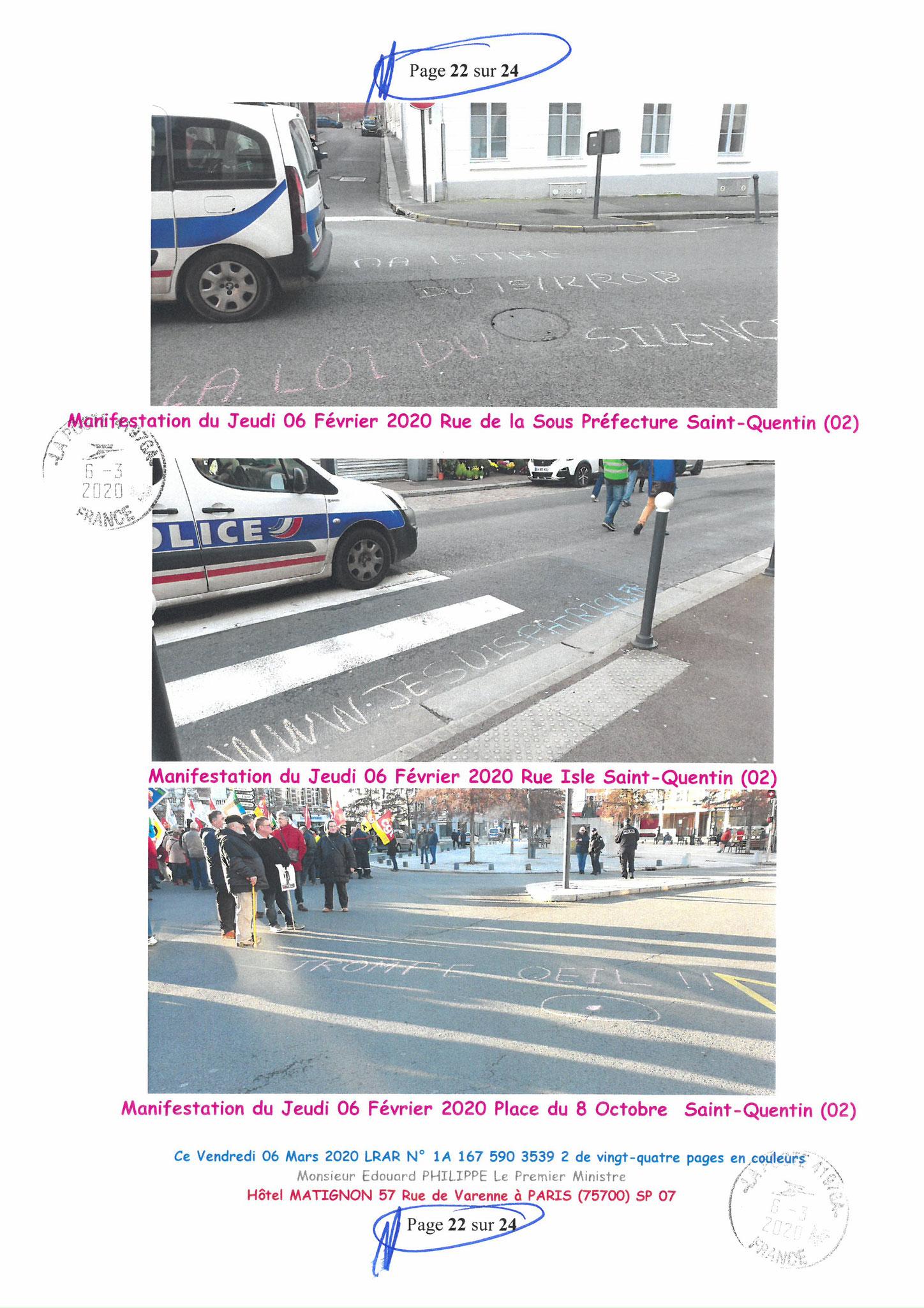 Ma LRAR à Monsieur le  Premier Ministre Edouard PHILIPPE N° 1A 167 590 3539 2 Page 22 sur 24 en Couleur du 06 Mars 2020  www.jesuispatrick.fr www.jesuisvictime.fr www.alerte-rouge-france.fr