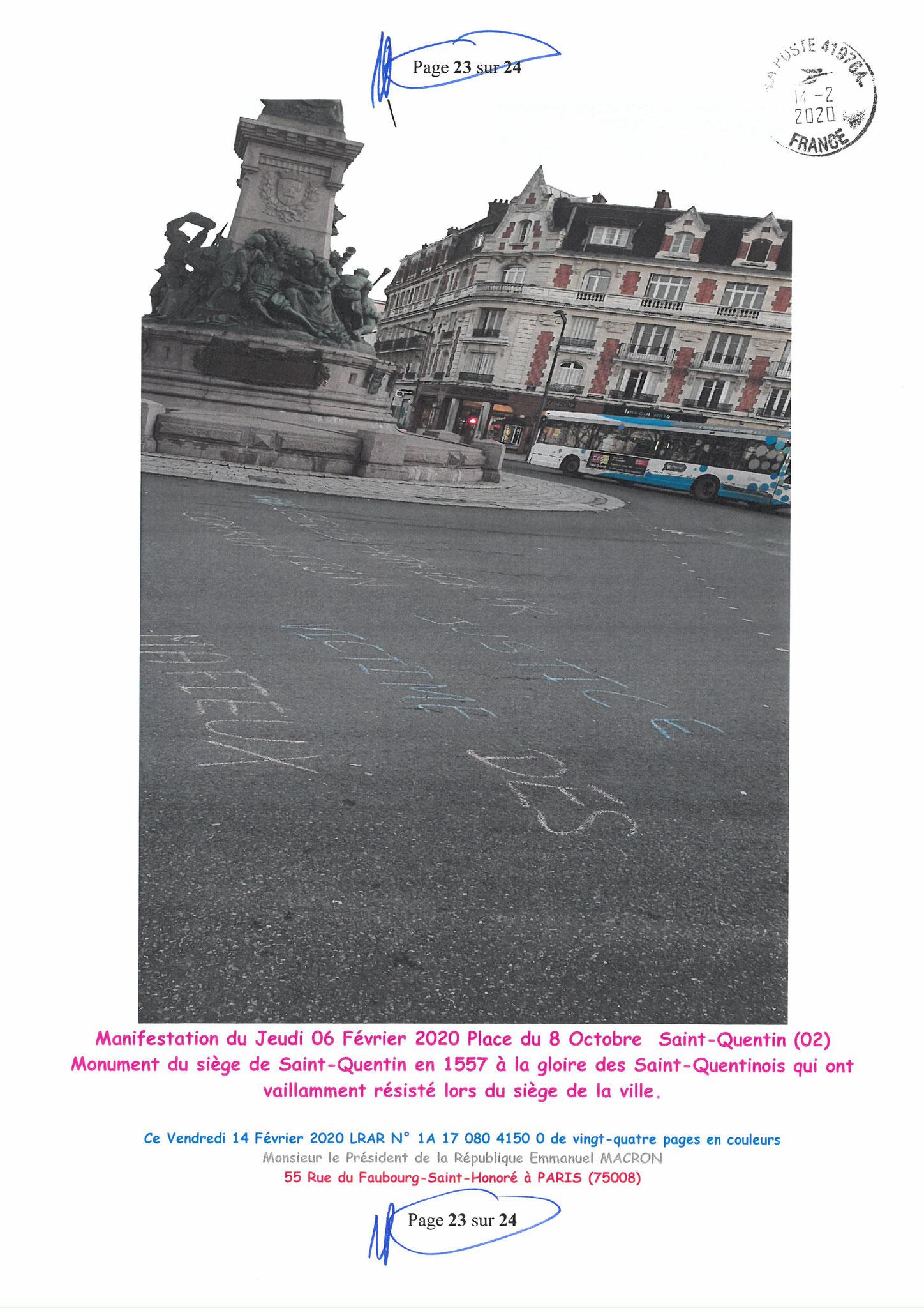 Ma lettre recommandée du 14 Février 2020 N° 1A 178 082 4150 0  page 23 sur 24 en couleur que j'ai adressé à Monsieur Emmanuel MACRON le Président de la République www.jesuispatrick.fr www.jesuisvictime.fr www.alerte-rouge-france.fr