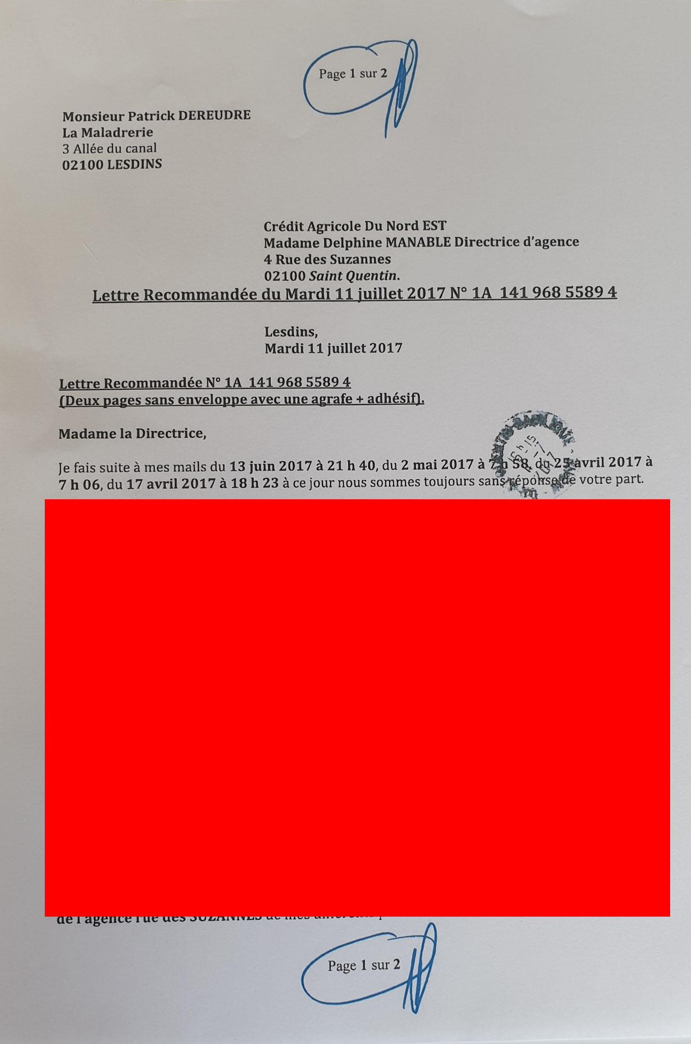 Ma Lettre recommandée du 11 Juillet 2017 N0 1A 141 968 5589 4 de deux pages www.jesuispatrick.fr