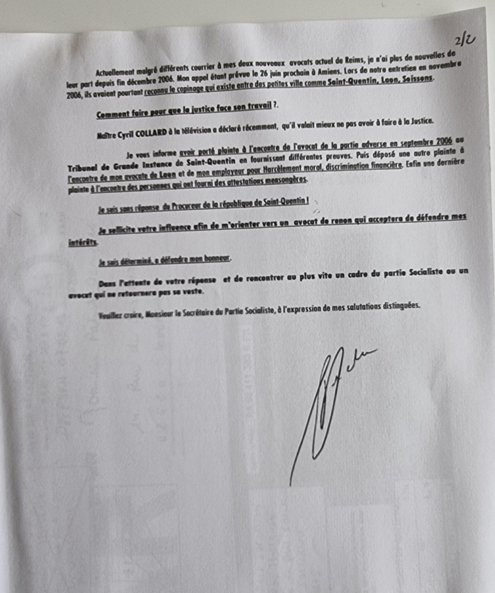 Ma lettre recommandée N° RA 89 411 383 6 FR du 18 Mai 2007 à Monsieur François HOLLANDE le Premier secrétaire du Parti SOCIALISME NON ASSISTANCE A PERSONNE EN DANGER www.jenesuispasunchien.fr www.jesuisvictime.fr www.jesuispatrick.fr